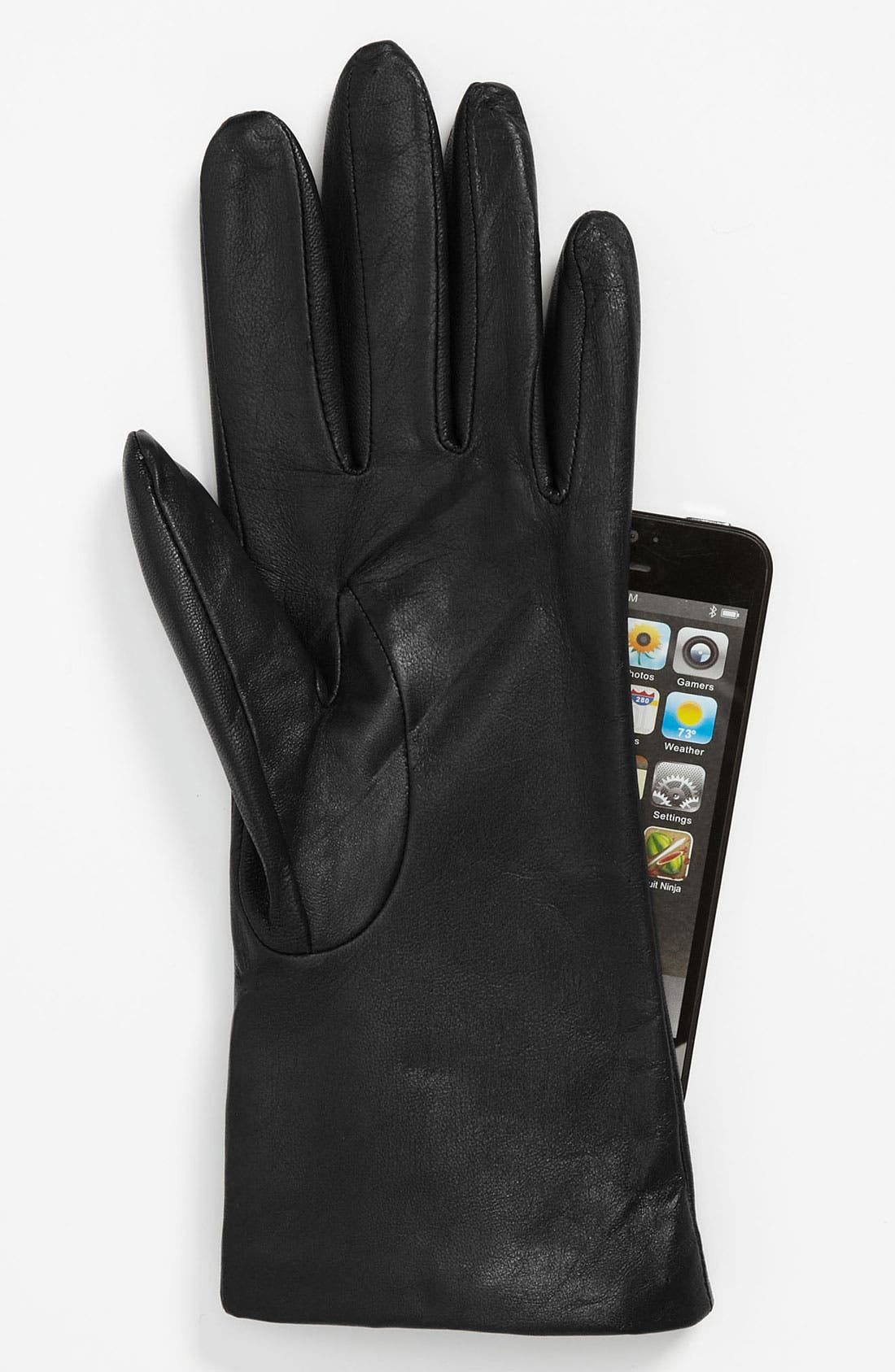 'Basic Tech' Cashmere Lined Leather Gloves,                             Main thumbnail 1, color,