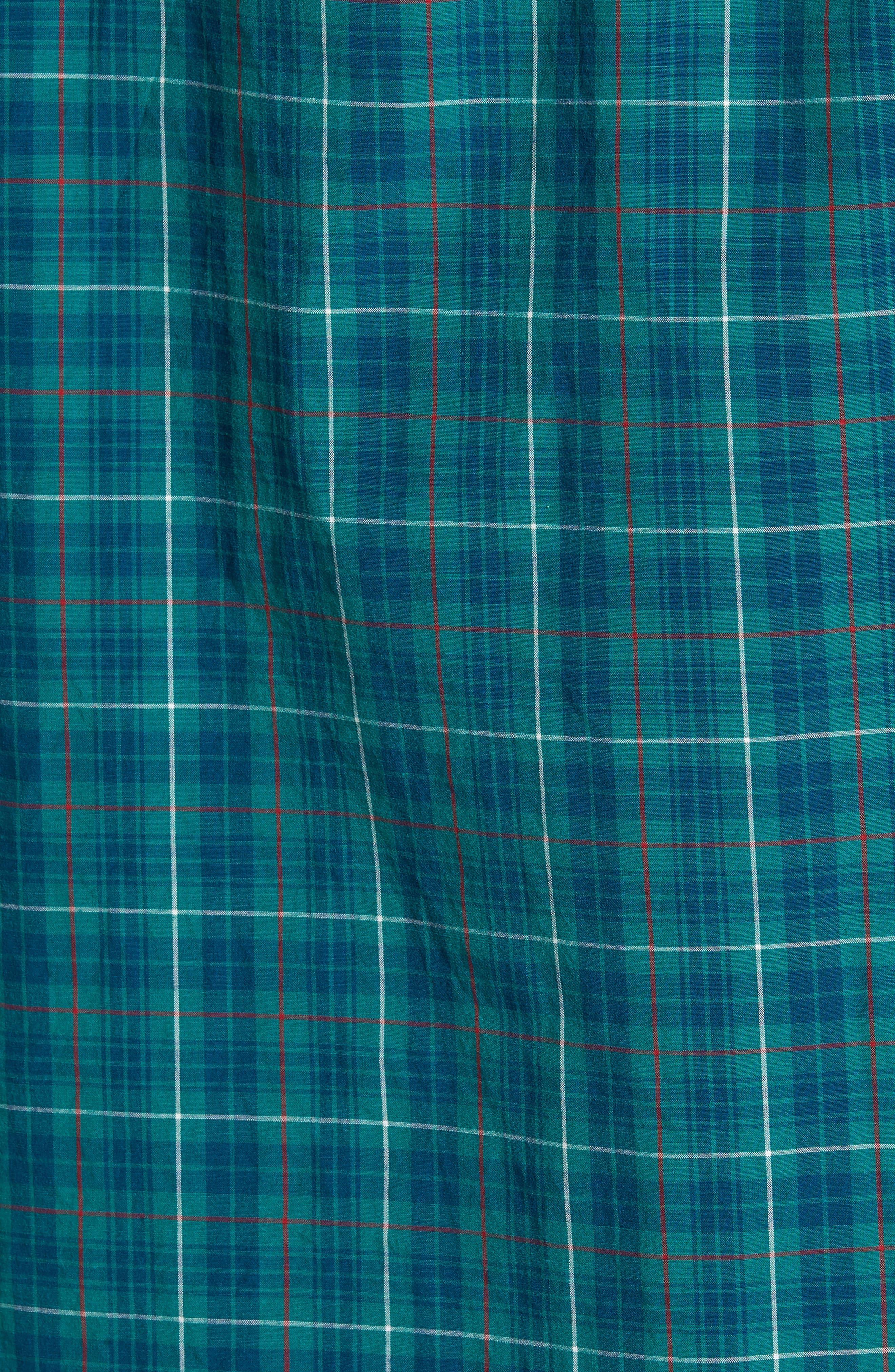 Slim Fit Stretch Secret Wash Plaid Sport Shirt,                             Alternate thumbnail 5, color,