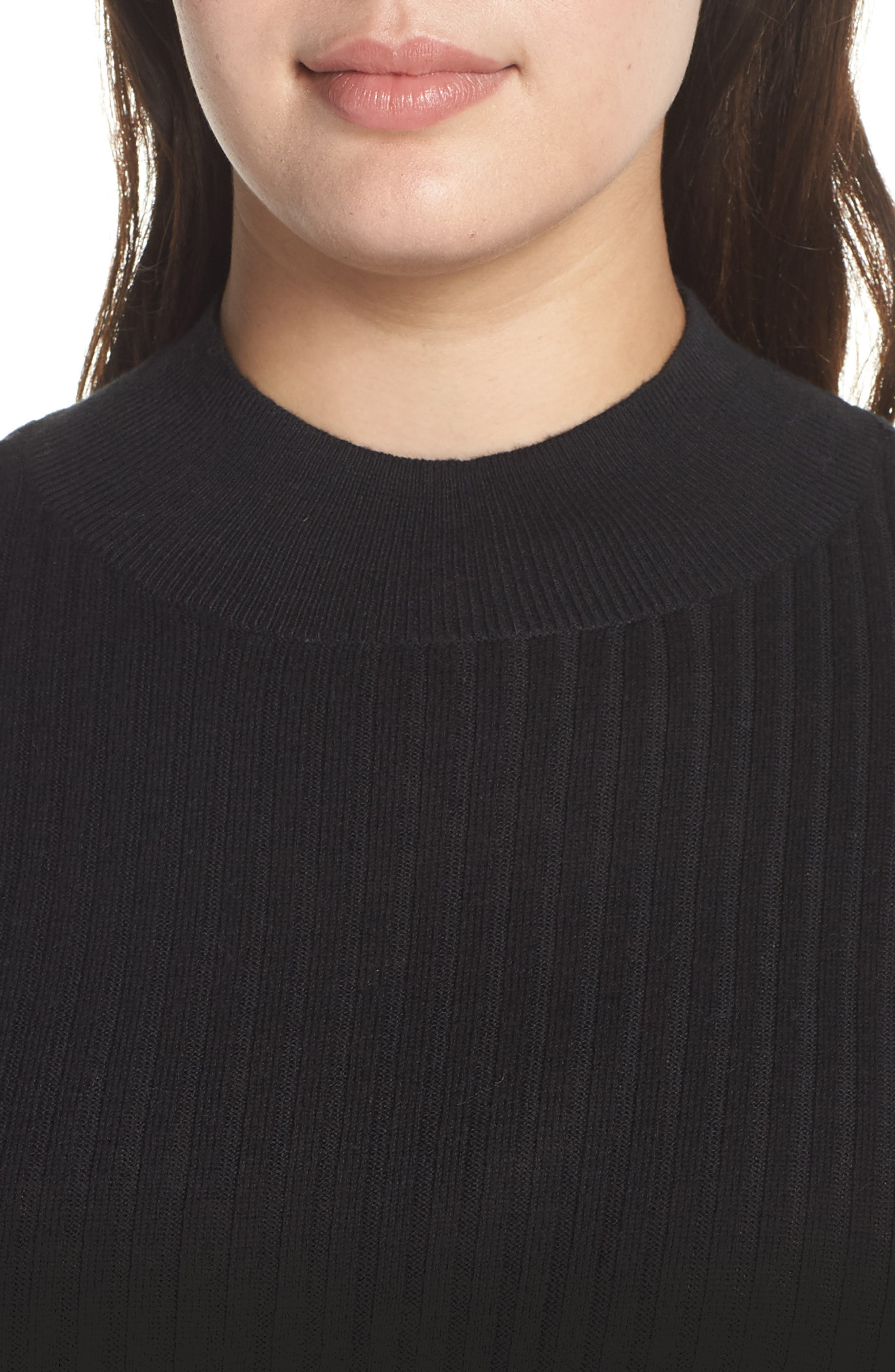 Rib Knit Mock Neck Sweater,                             Alternate thumbnail 4, color,                             BLACK