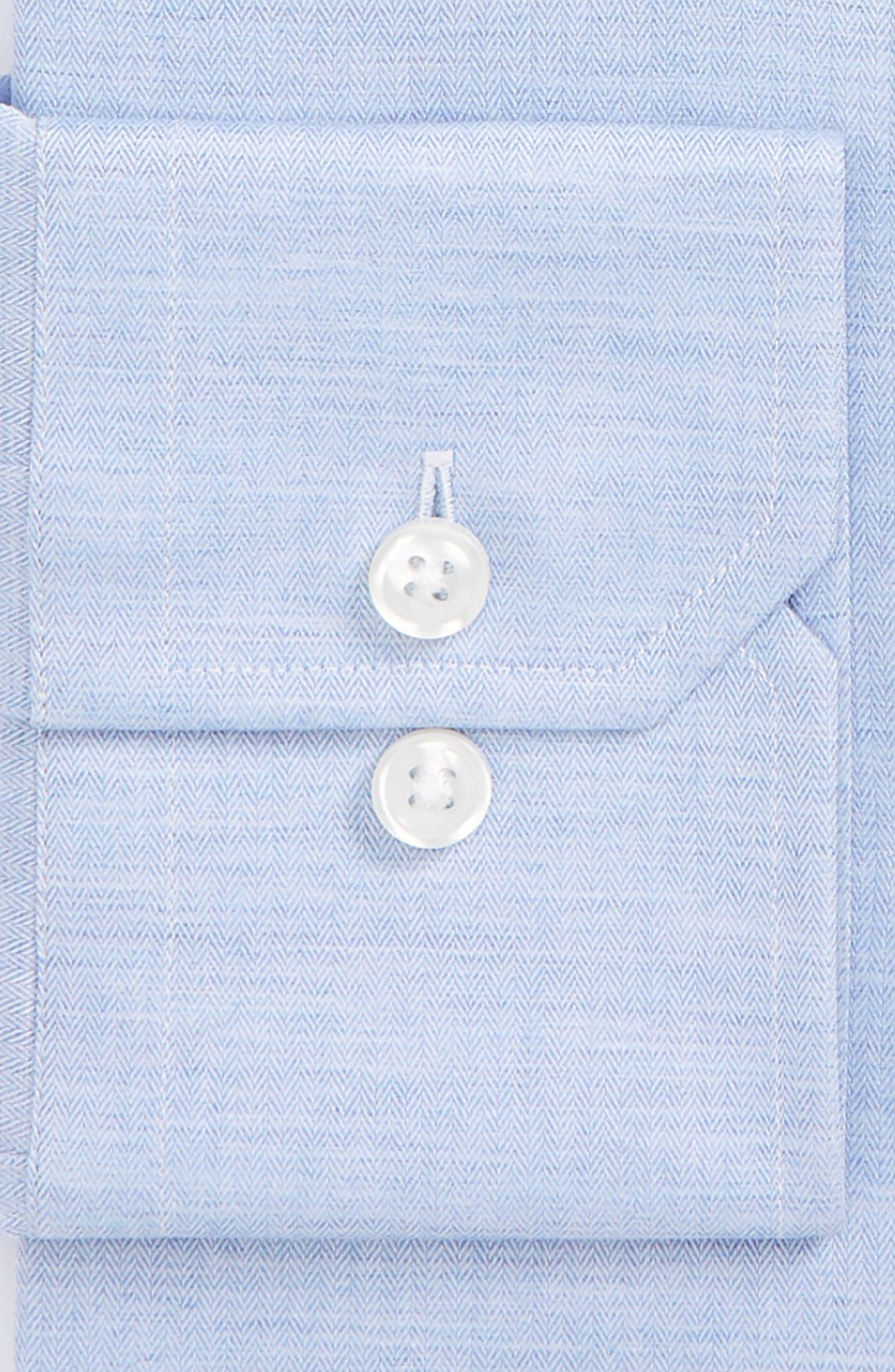 Trim Fit Herringbone Dress Shirt,                             Alternate thumbnail 6, color,