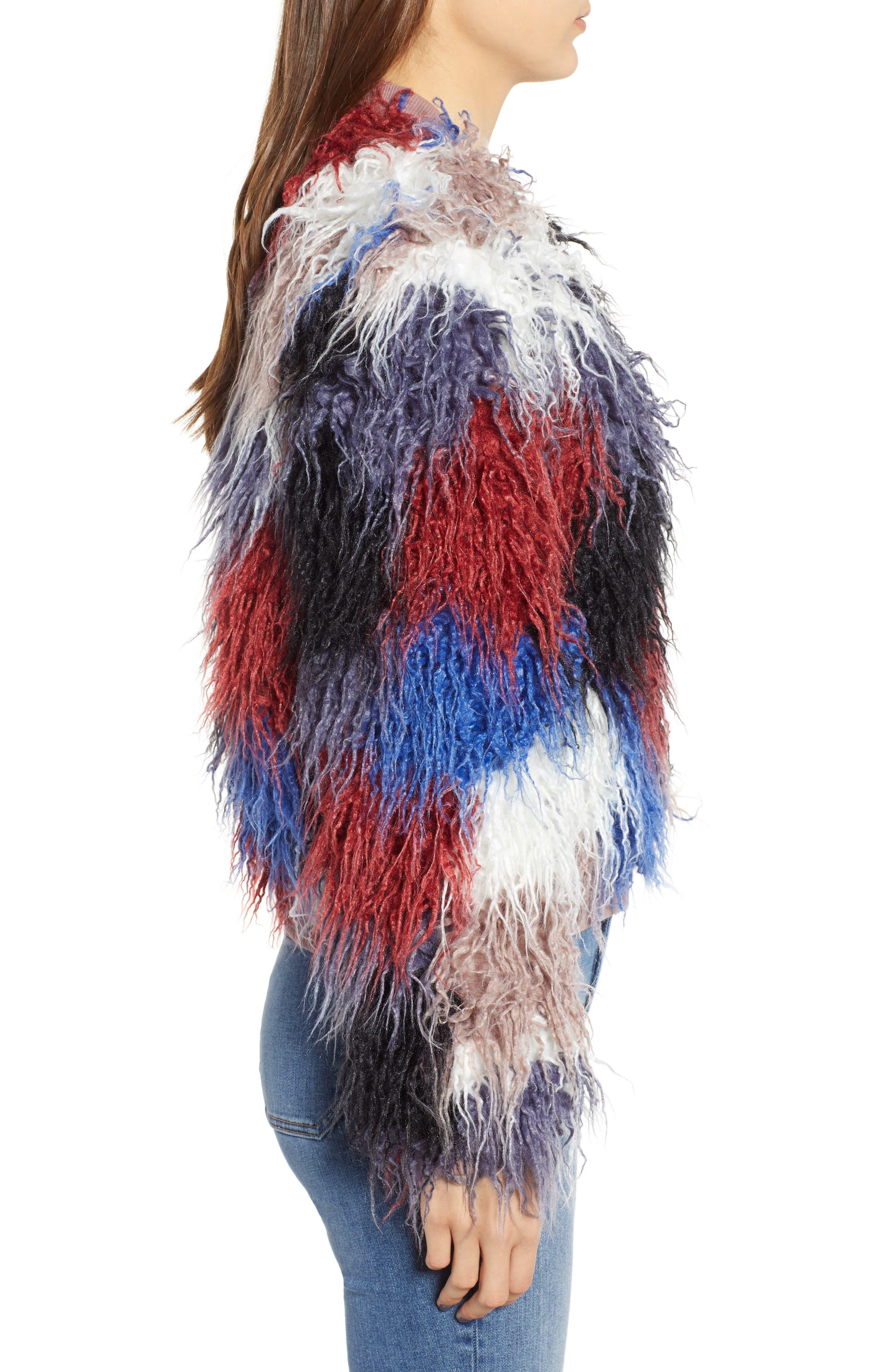 Shaggy Faux Fur Jacket,                             Alternate thumbnail 3, color,                             400