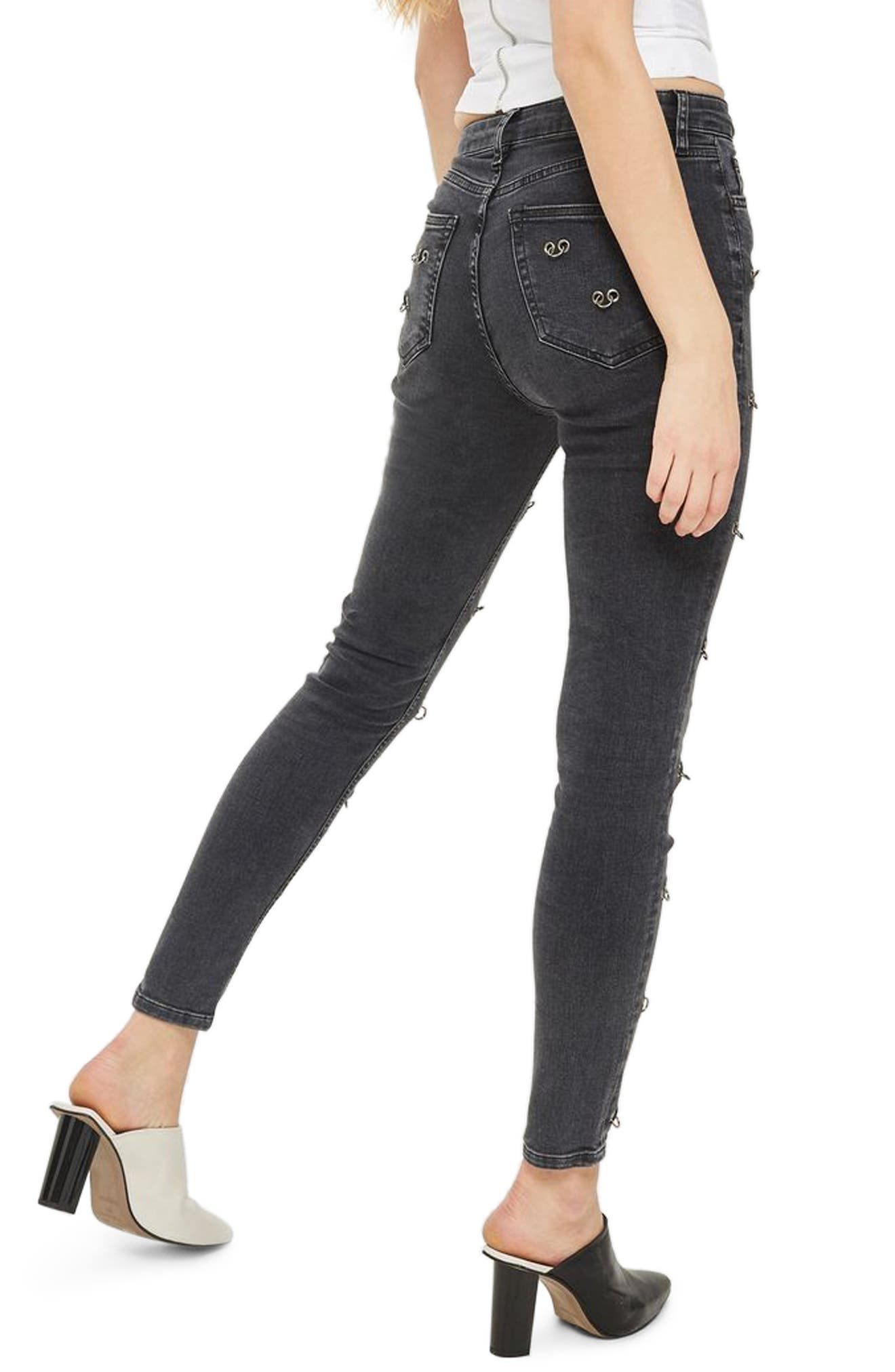 Jamie Pierced Stretch Skinny Jeans,                             Alternate thumbnail 2, color,                             001