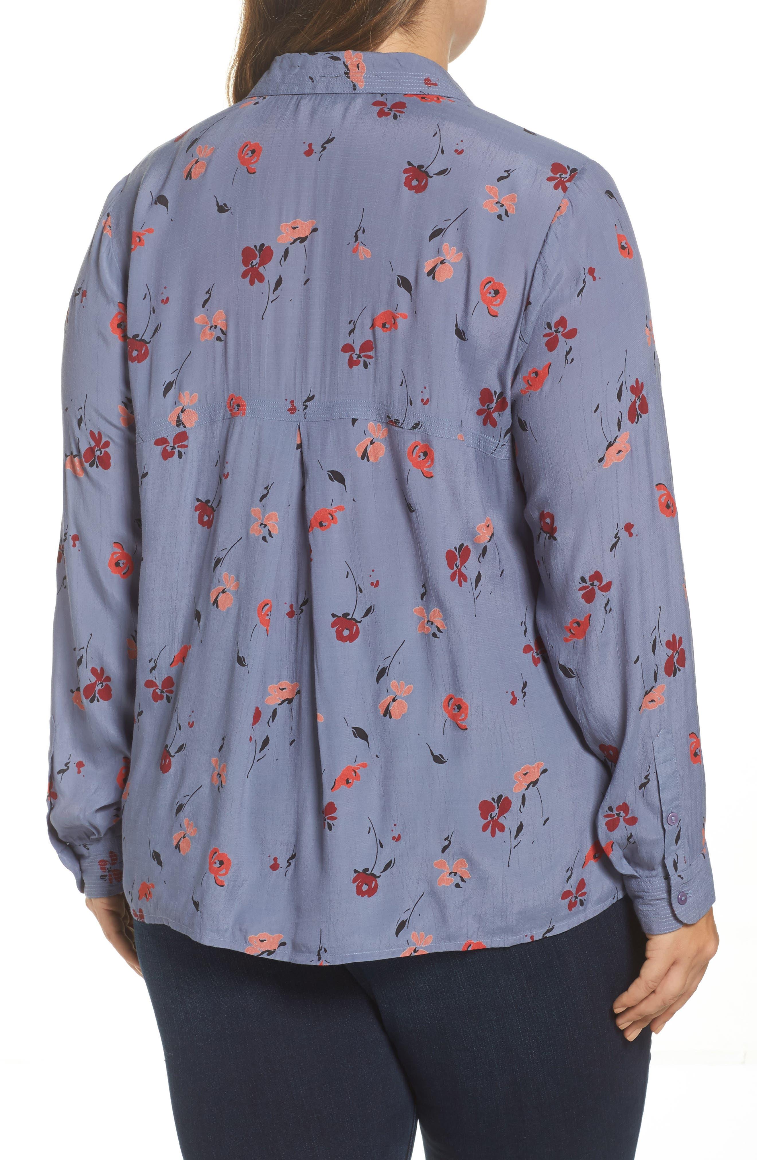Floral Print Button Down Shirt,                             Alternate thumbnail 2, color,                             020
