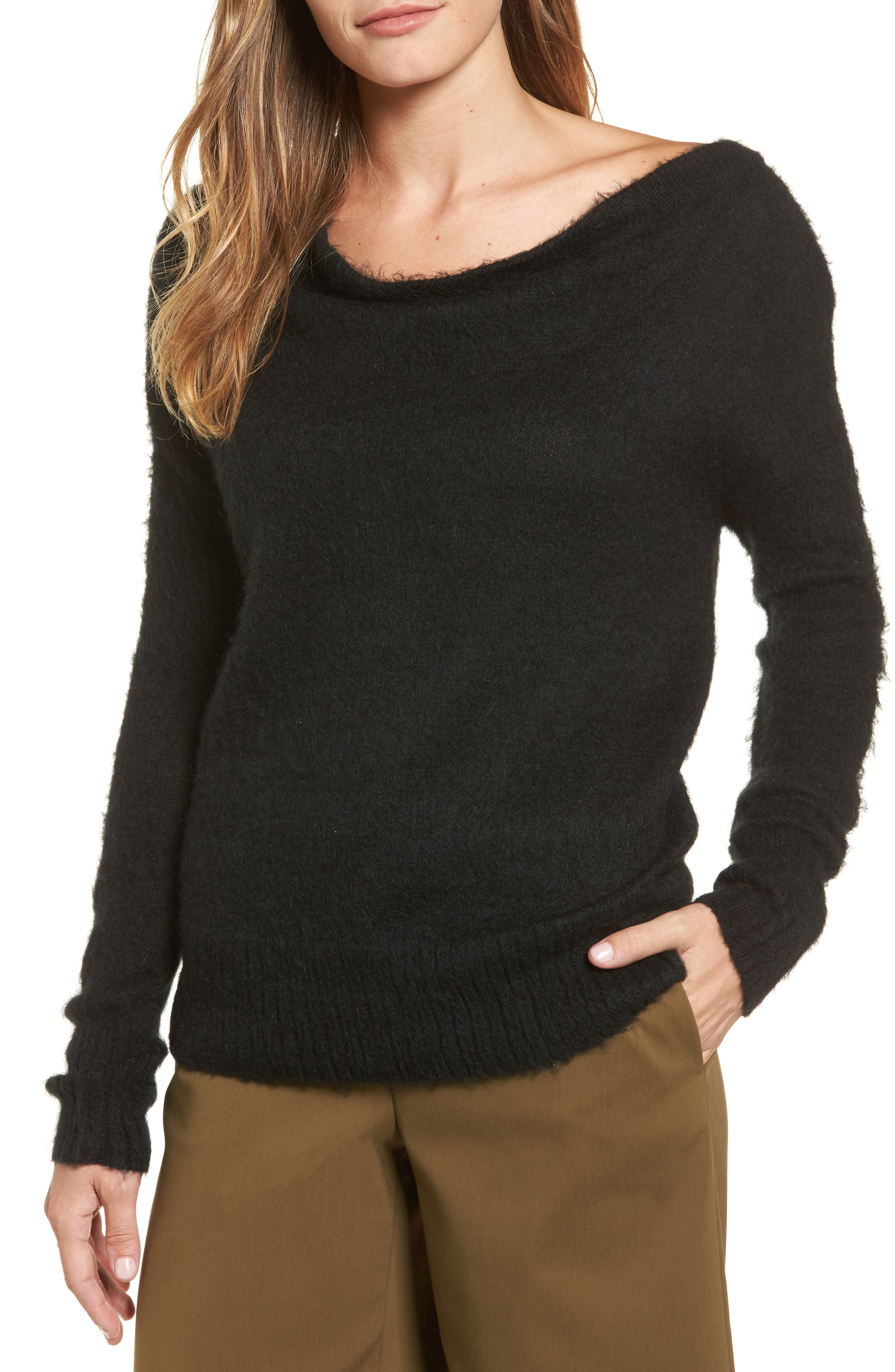 Long Sleeve Brushed Sweater,                             Main thumbnail 1, color,                             001