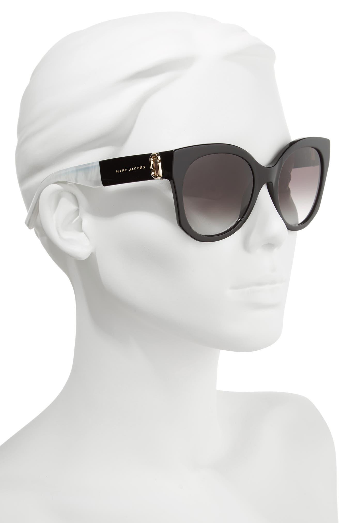 53mm Gradient Lens Cat Eye Sunglasses,                             Alternate thumbnail 2, color,                             001