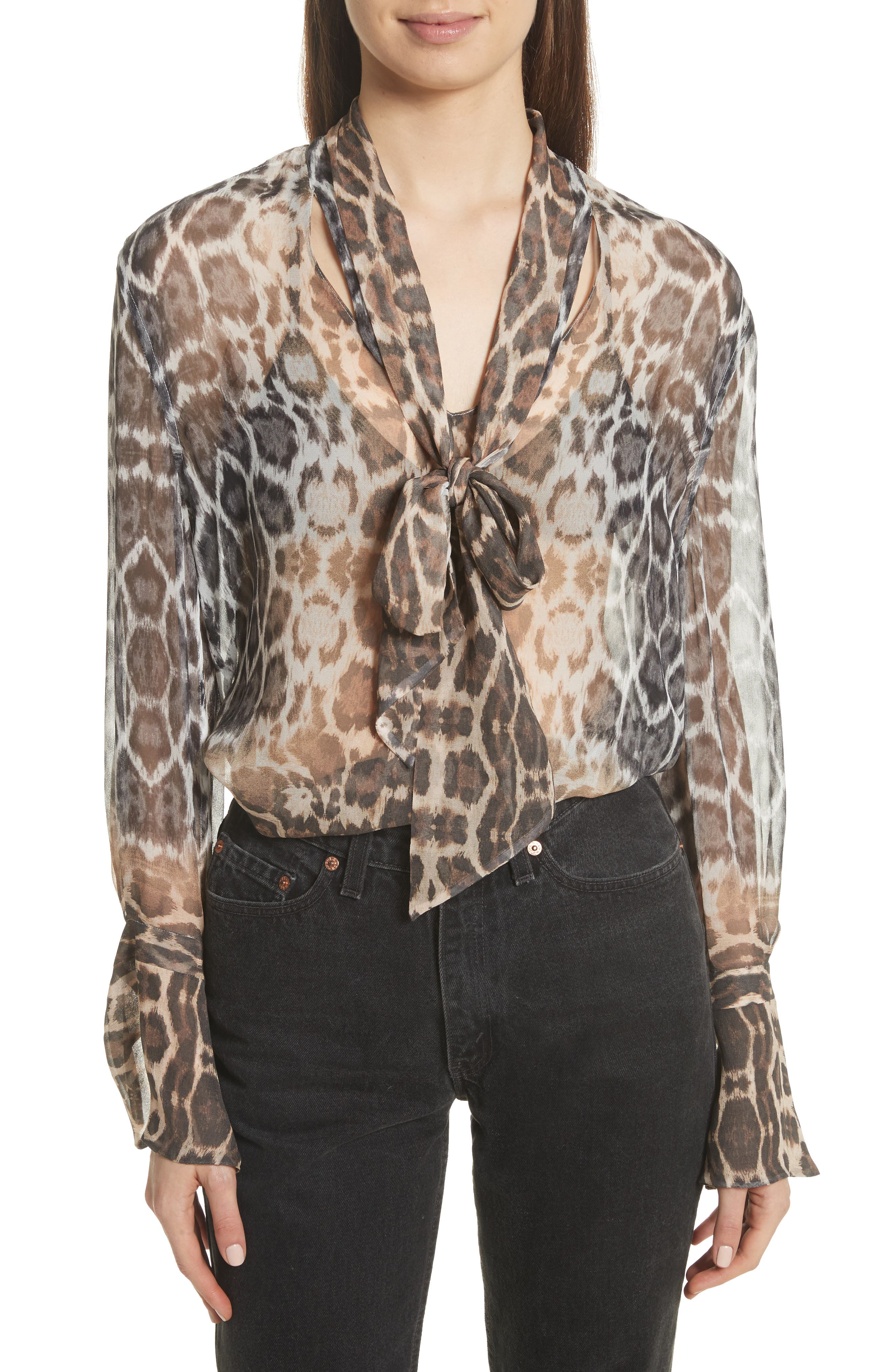 Jacqueleen Tie Neck Silk Blouse,                         Main,                         color, 244