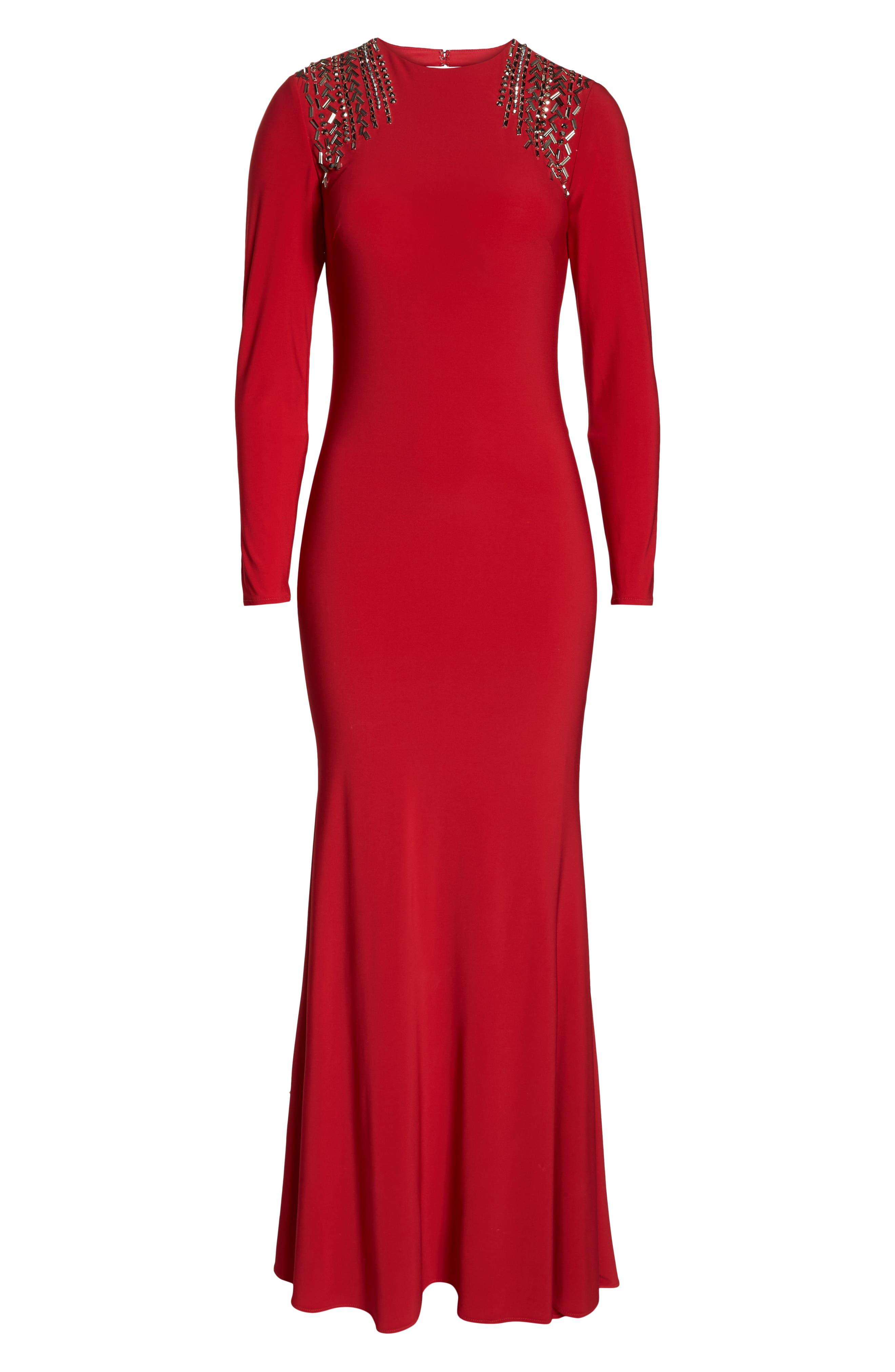 Mac Duggal Embellished Shoulder Jersey Gown,                             Alternate thumbnail 8, color,                             600