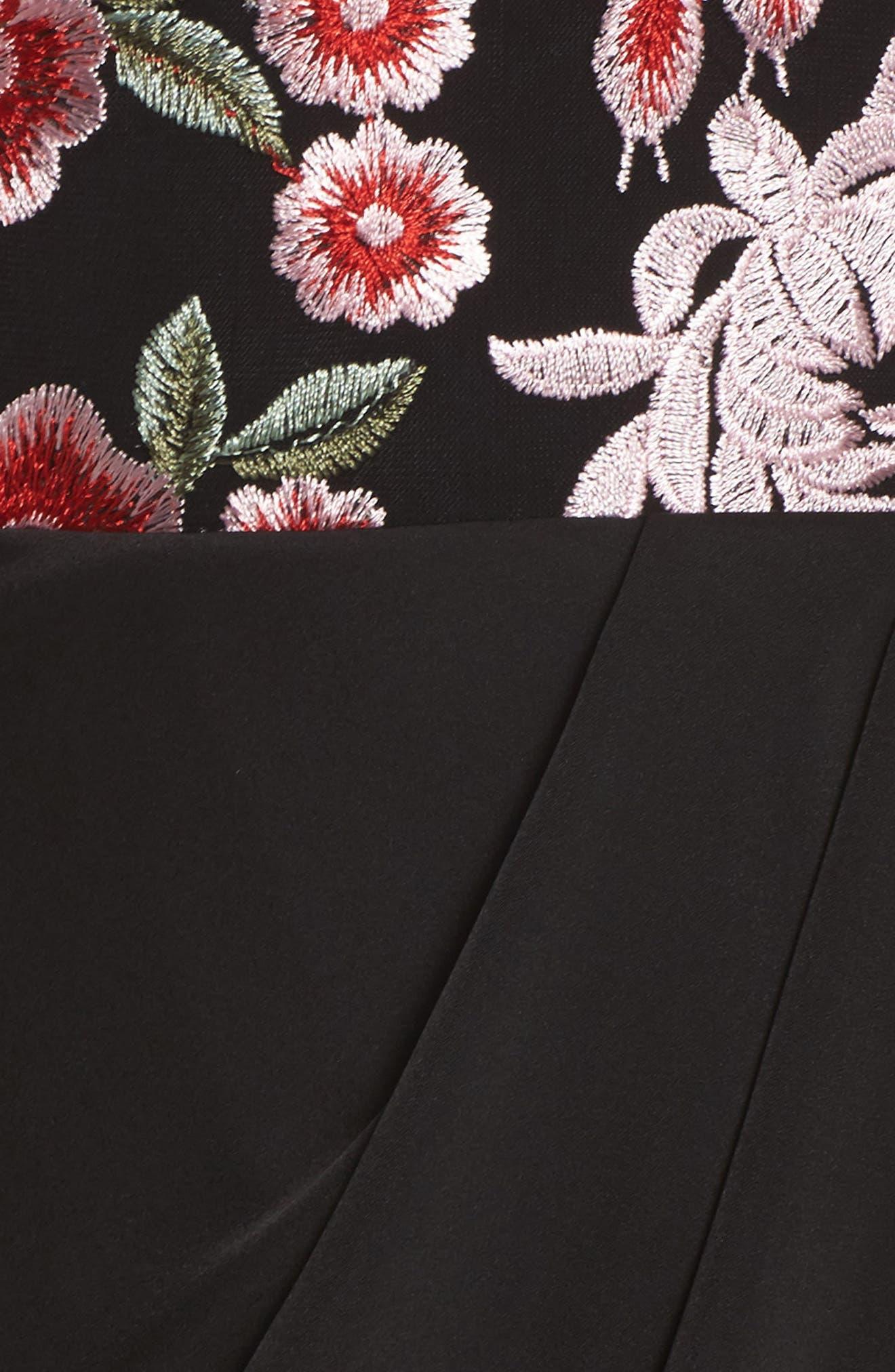 Mila Embroidered Tulip Skirt Dress,                             Alternate thumbnail 5, color,                             001