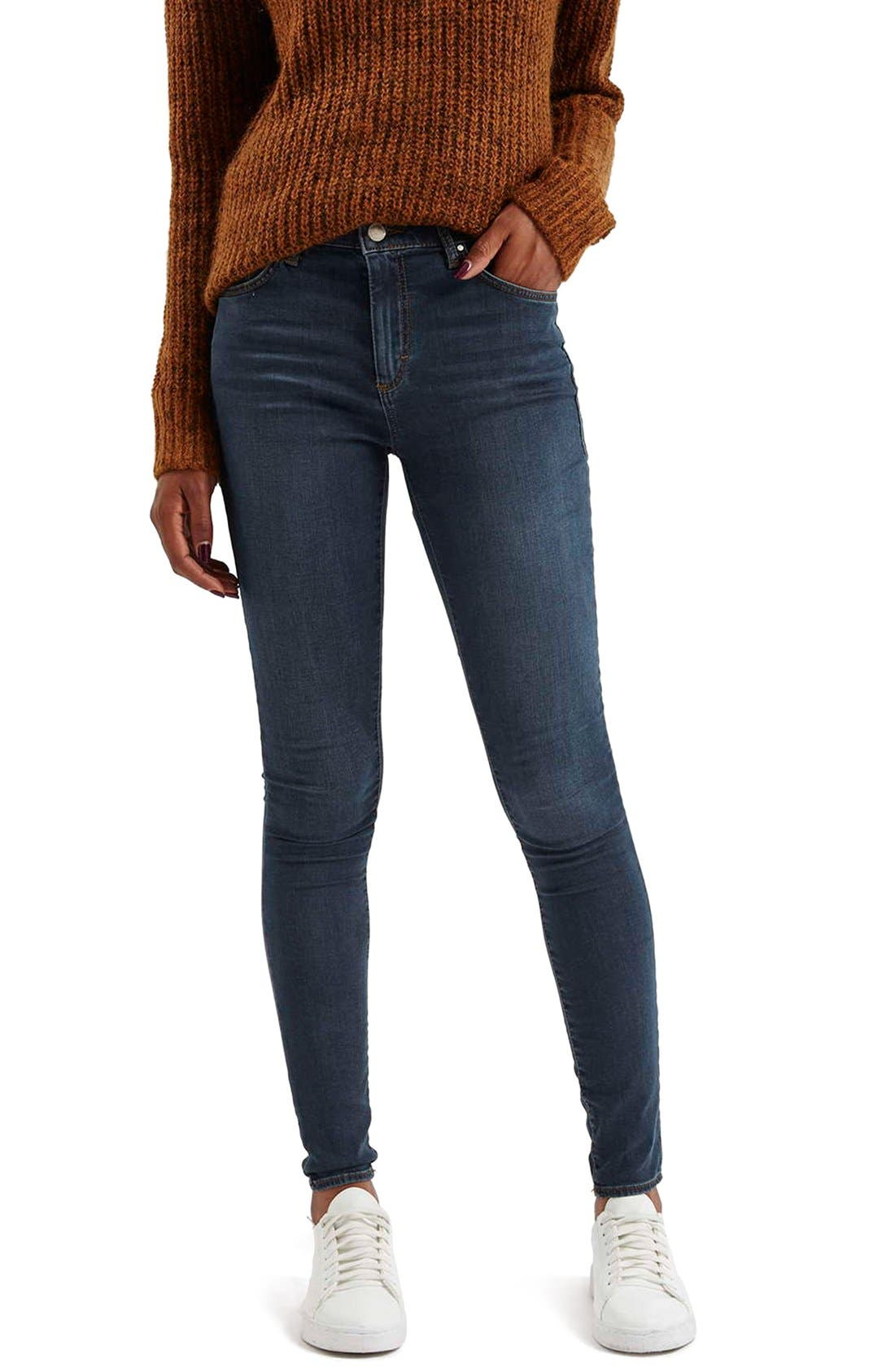 Moto 'Leigh' Skinny Jeans,                             Main thumbnail 1, color,                             400
