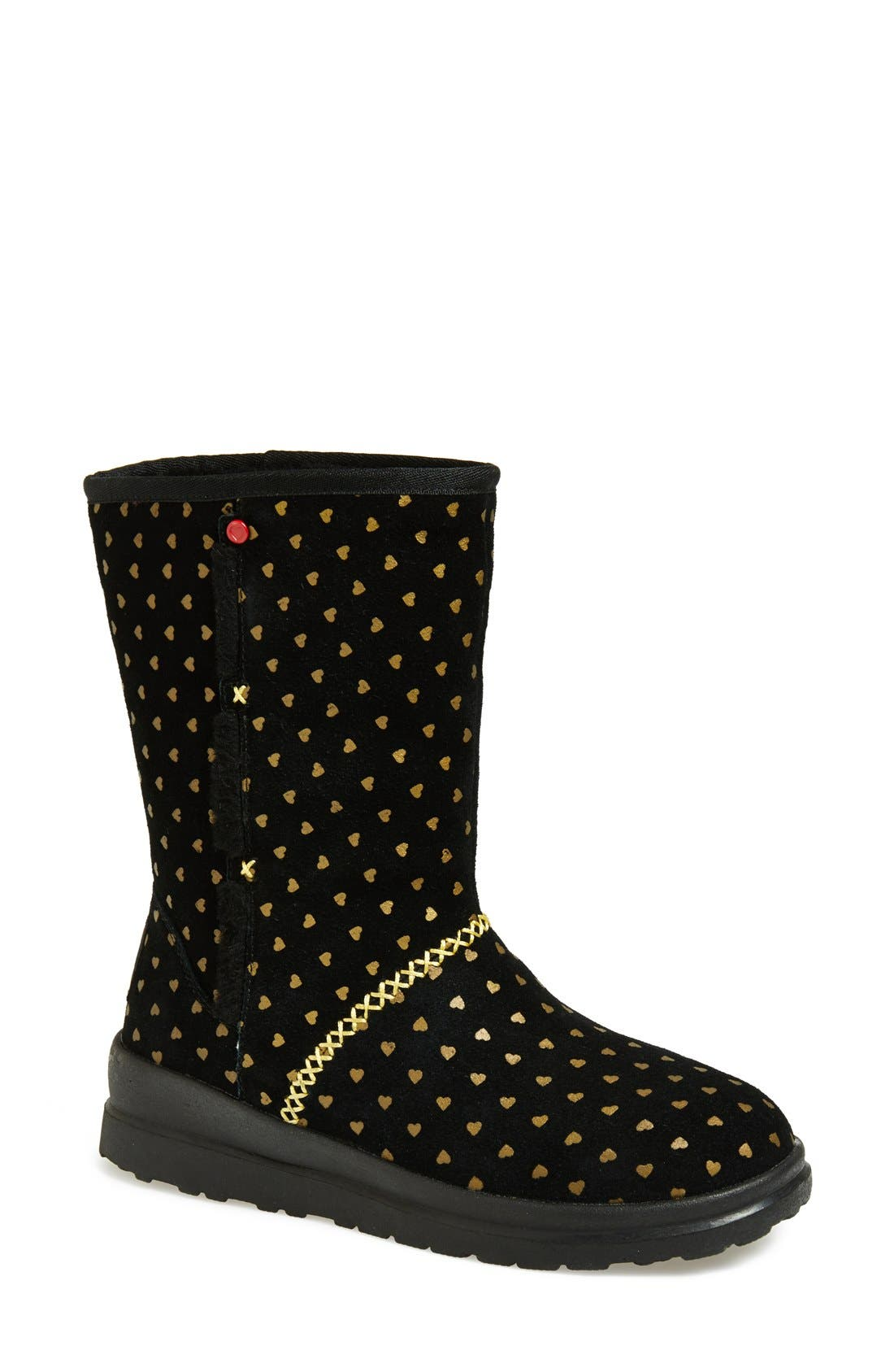 I Heart UGG<sup>™</sup> by UGG<sup>®</sup> Australia 'I Heart Kisses' Short Boot,                             Main thumbnail 1, color,                             005