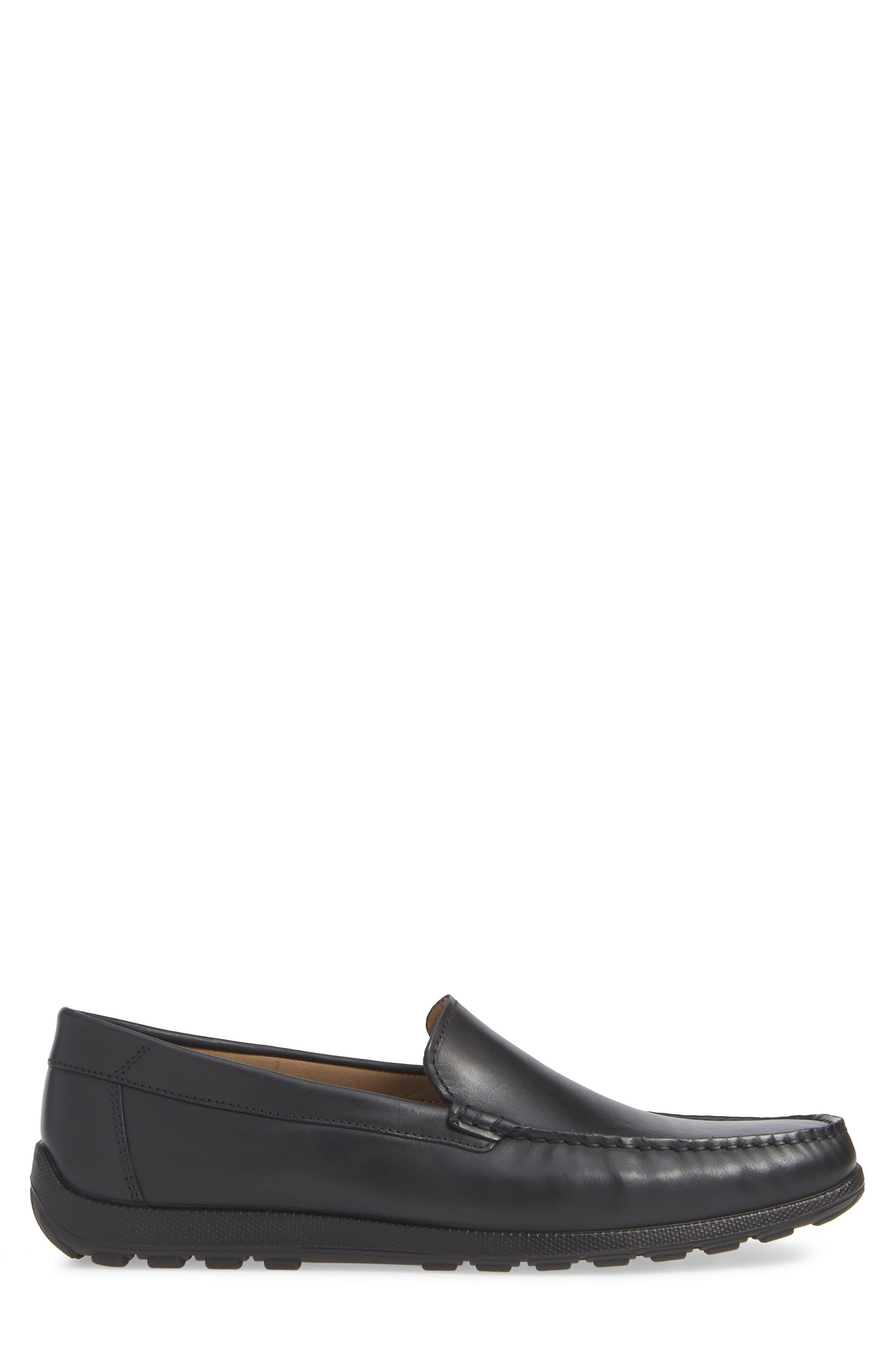 Dip Moc Toe Driving Loafer,                             Alternate thumbnail 3, color,                             BLACK LEATHER