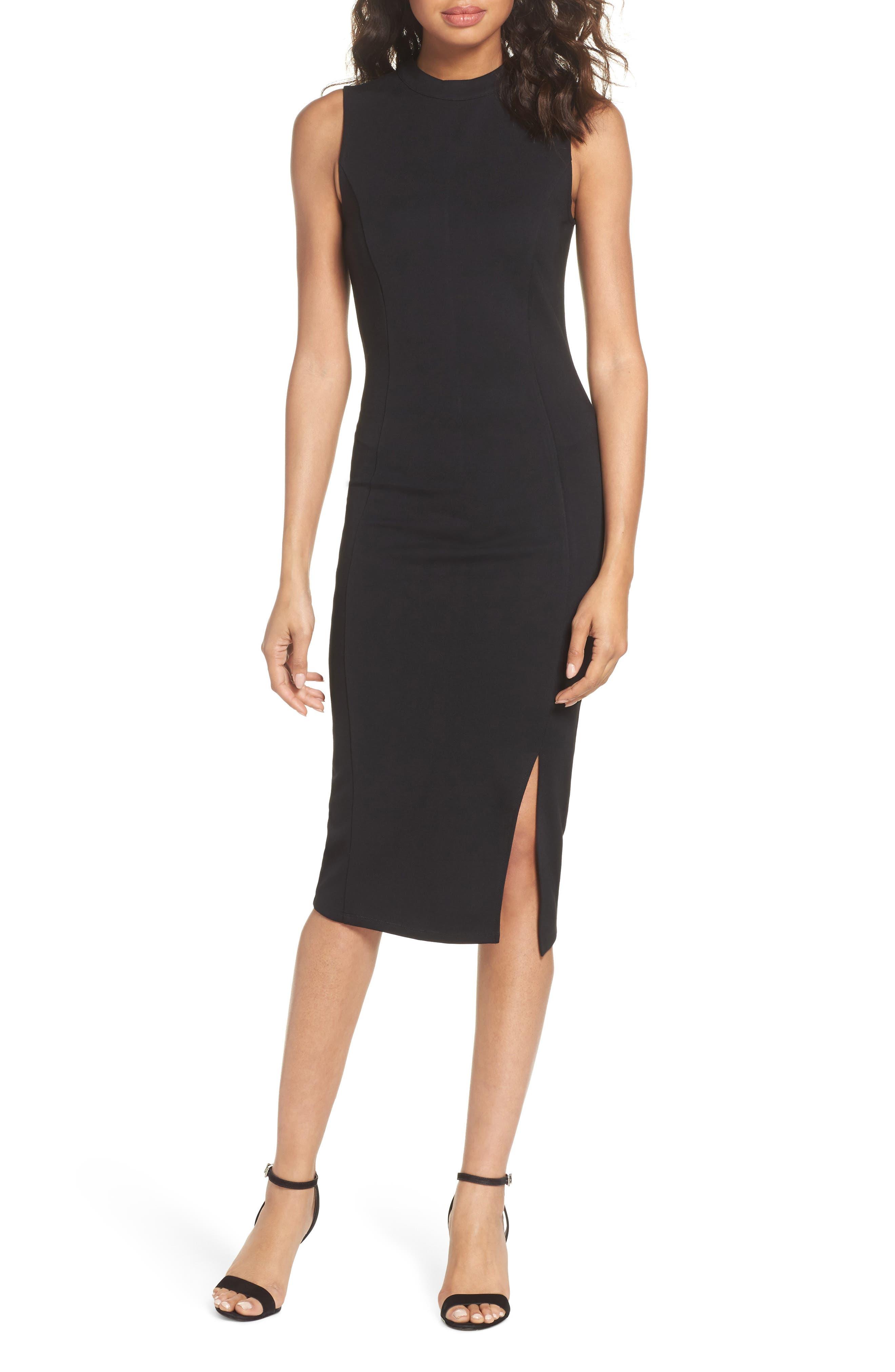 Pepa Mock Neck Sheath Dress,                             Main thumbnail 1, color,                             001