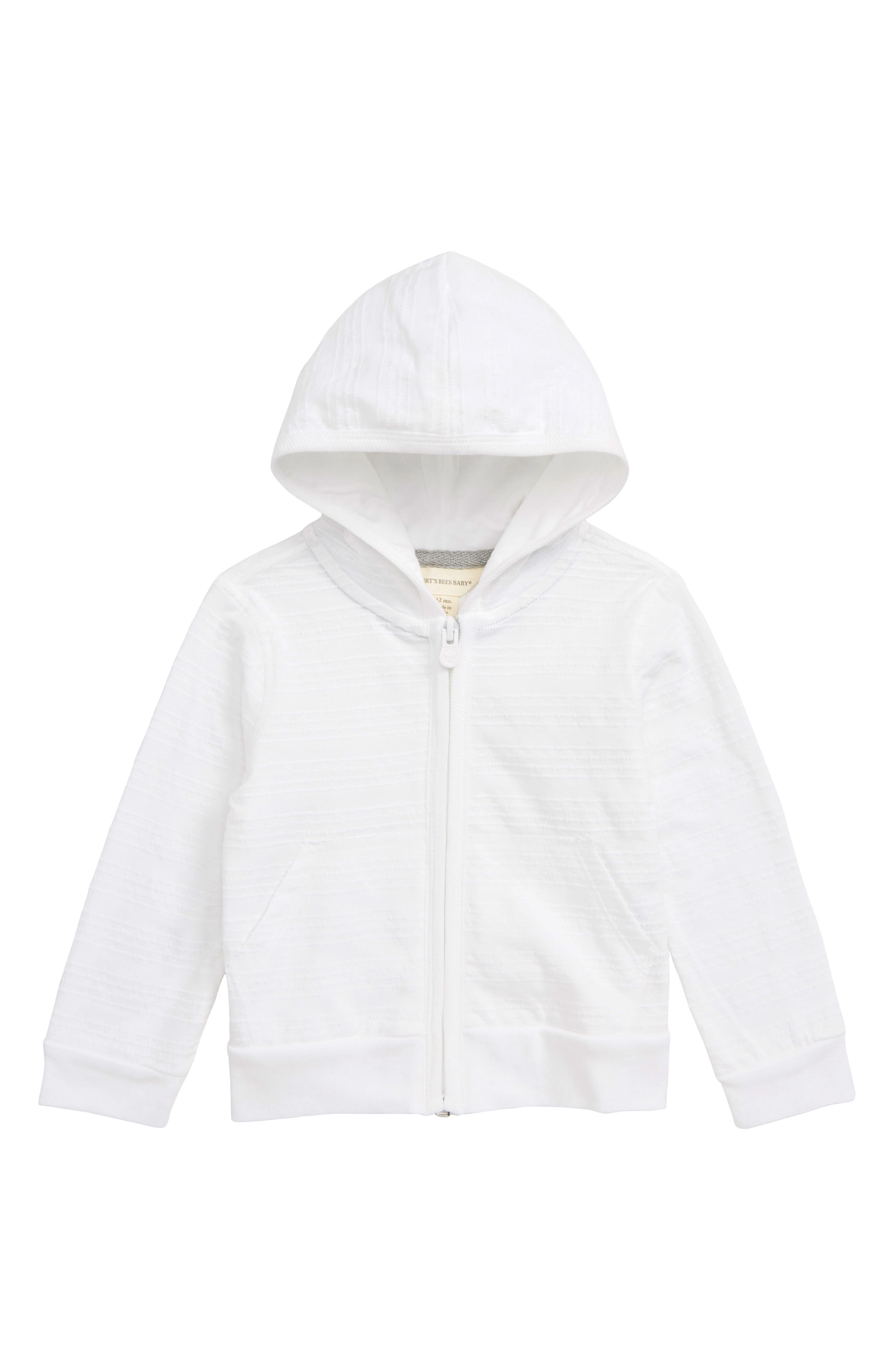 Infant Girls BurtS Bees Baby Jacquard Stripe Hoodie Size 36M  White
