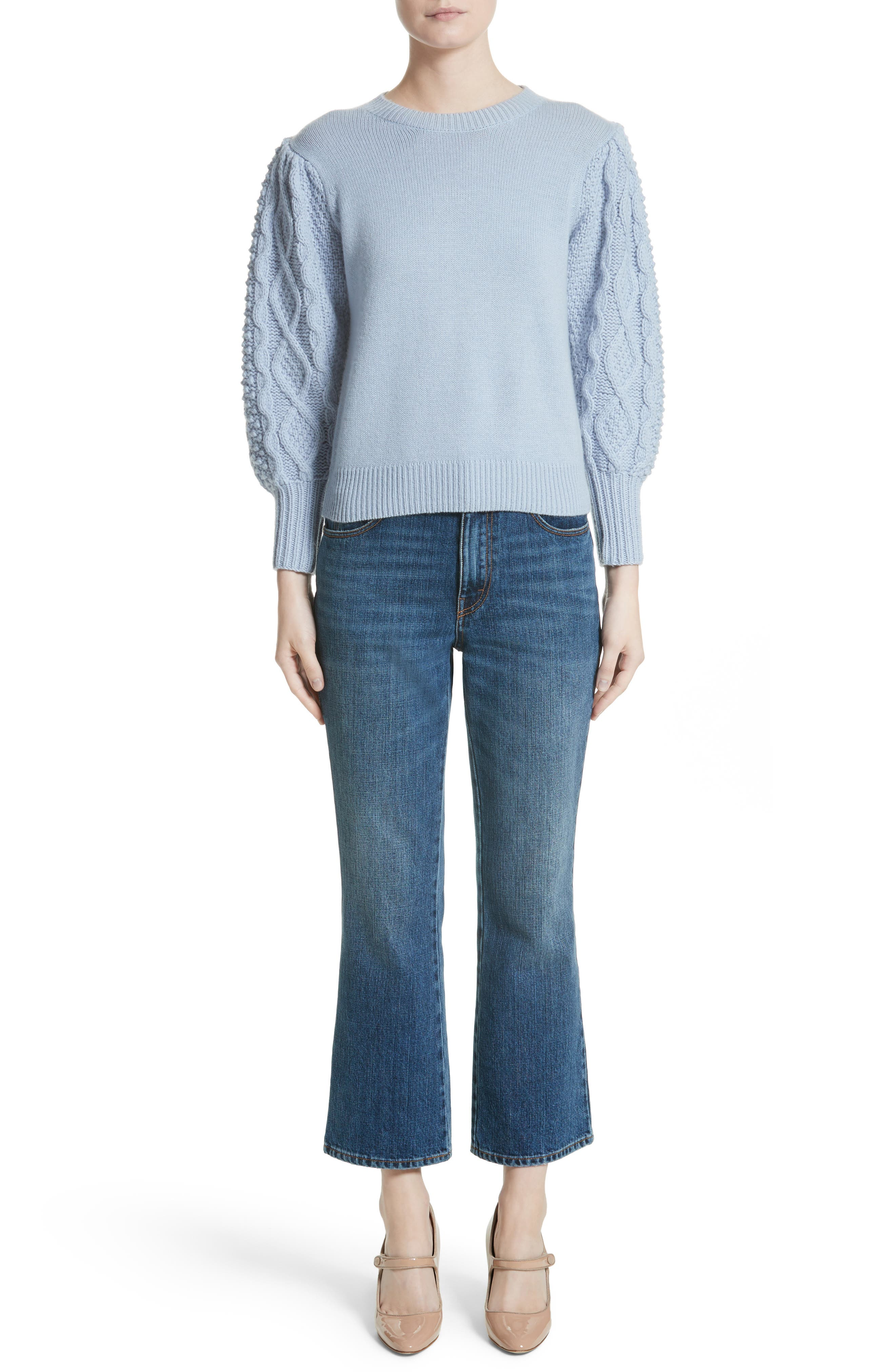 Puff Sleeve Wool & Cashmere Sweater,                             Alternate thumbnail 7, color,                             400