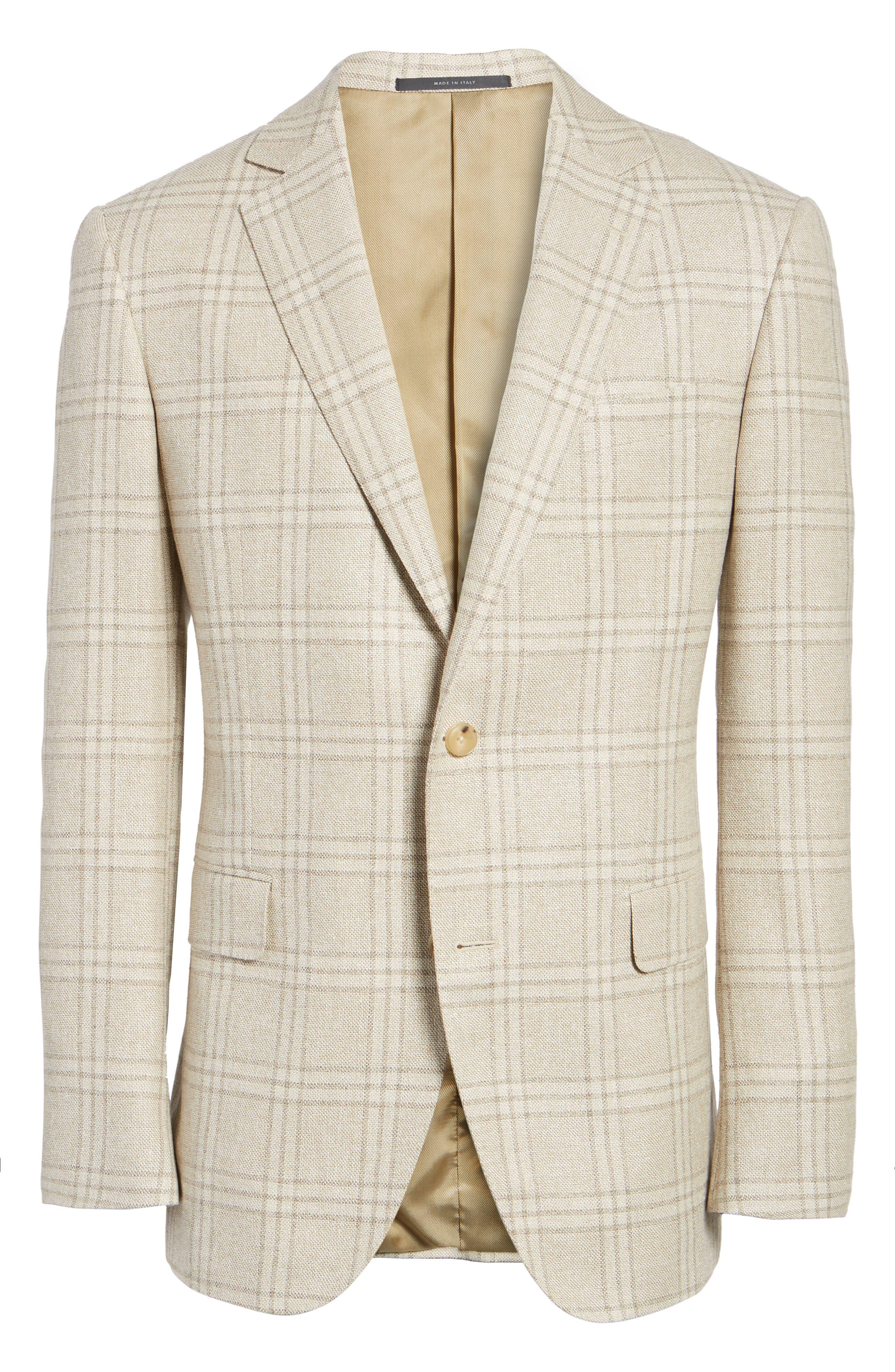 Plaid Wool Blend Sport Coat,                             Alternate thumbnail 5, color,                             252