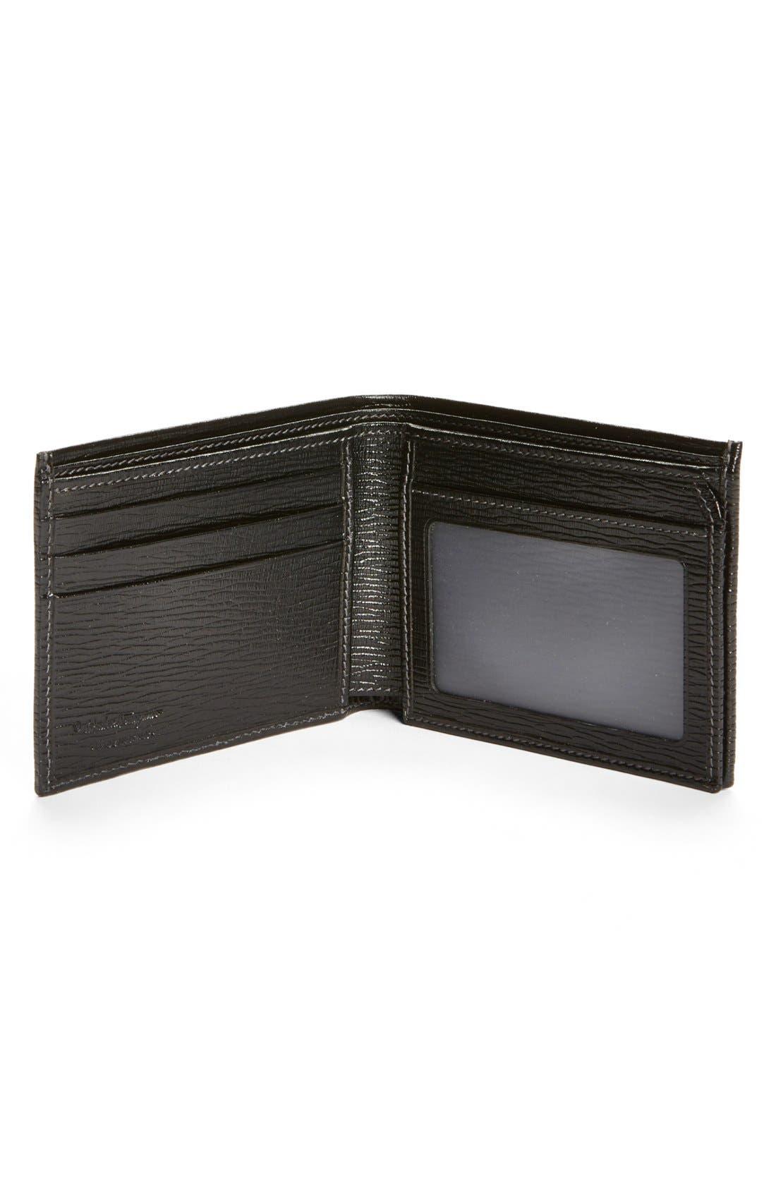 Stamped Calf Wallet,                             Alternate thumbnail 4, color,                             BLACK