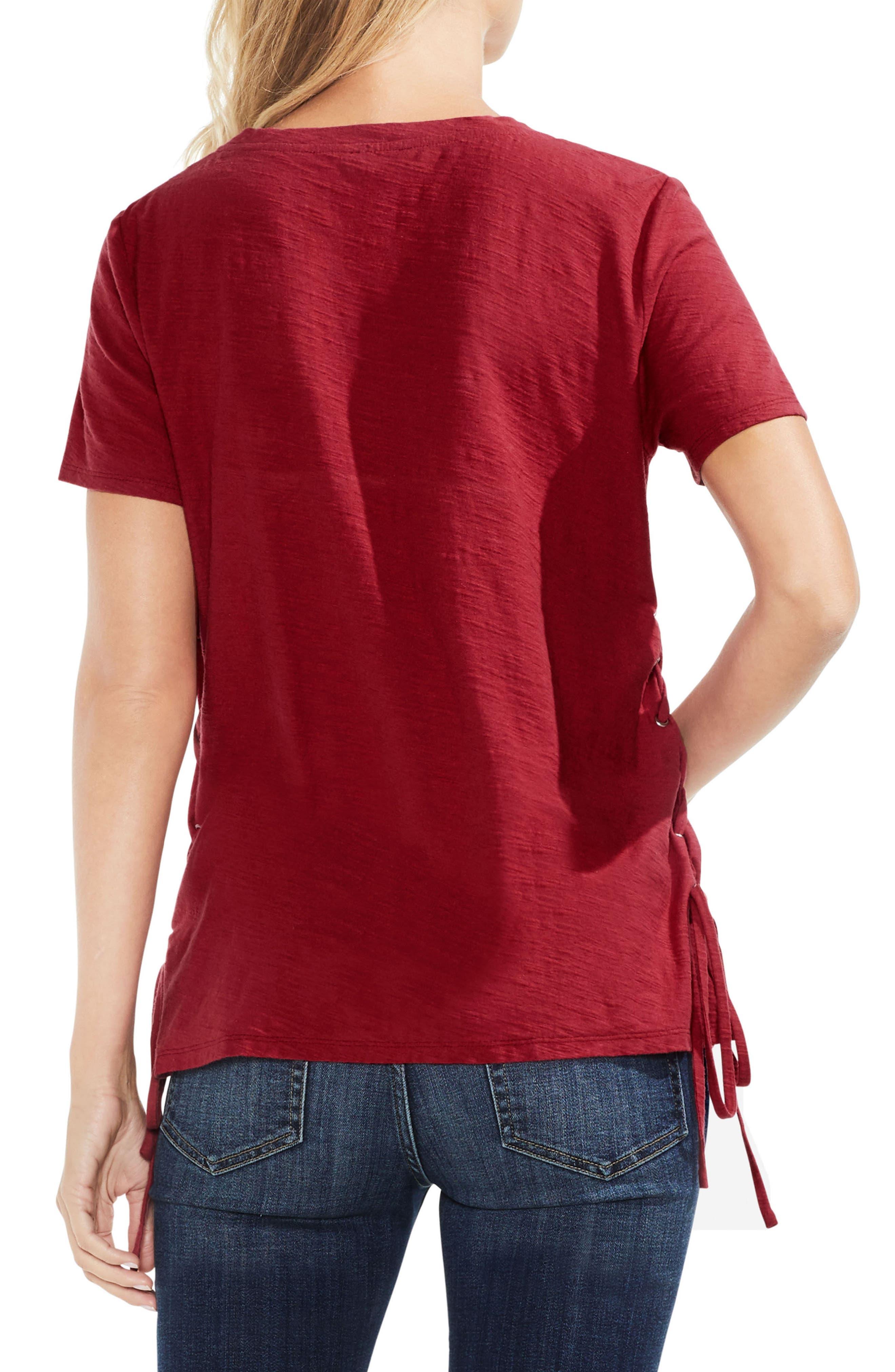 Side Lace-Up Cotton Slub Top,                             Alternate thumbnail 17, color,