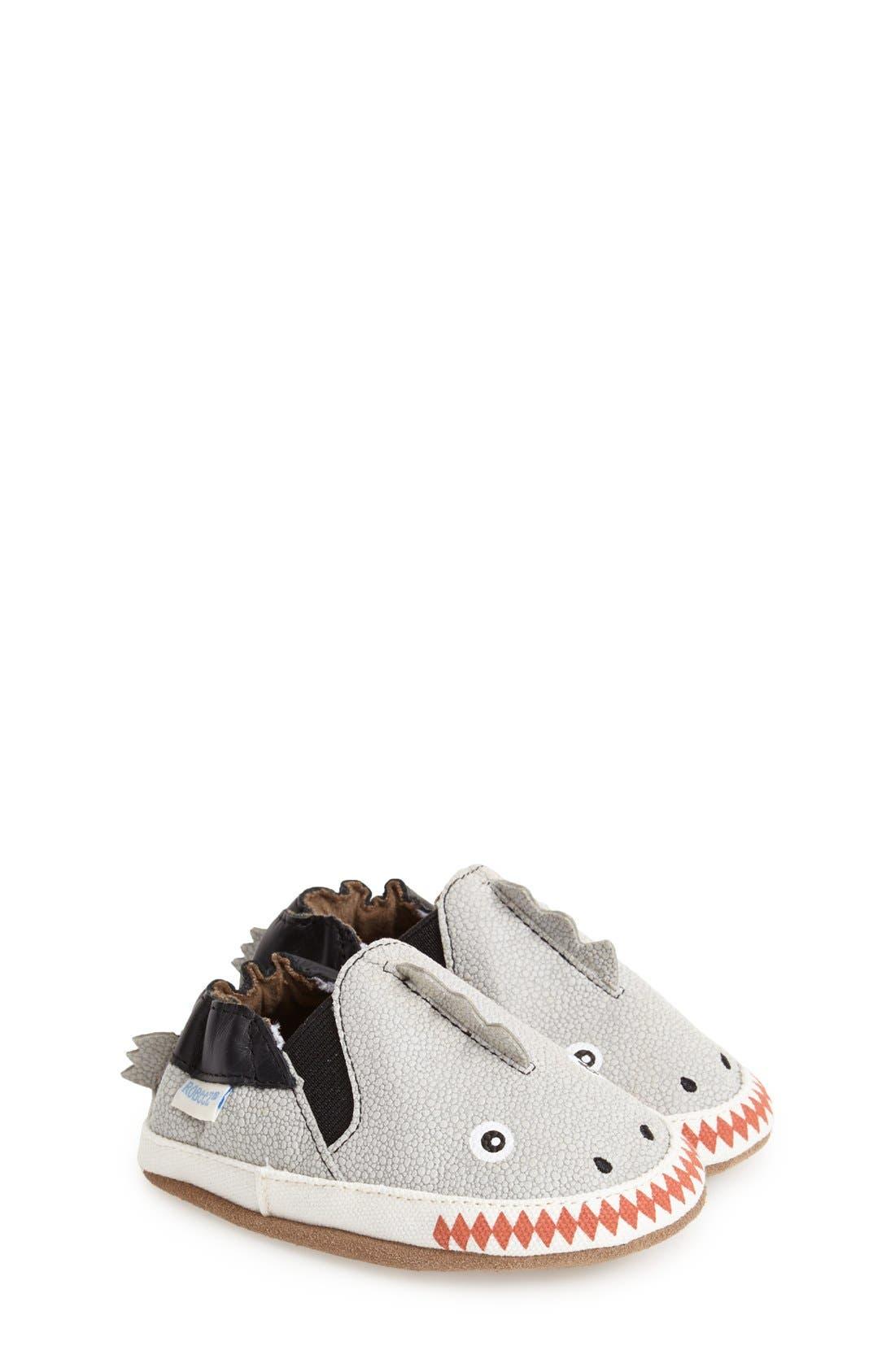 'Dino Dan' Crib Shoe,                         Main,                         color, PALE GREY