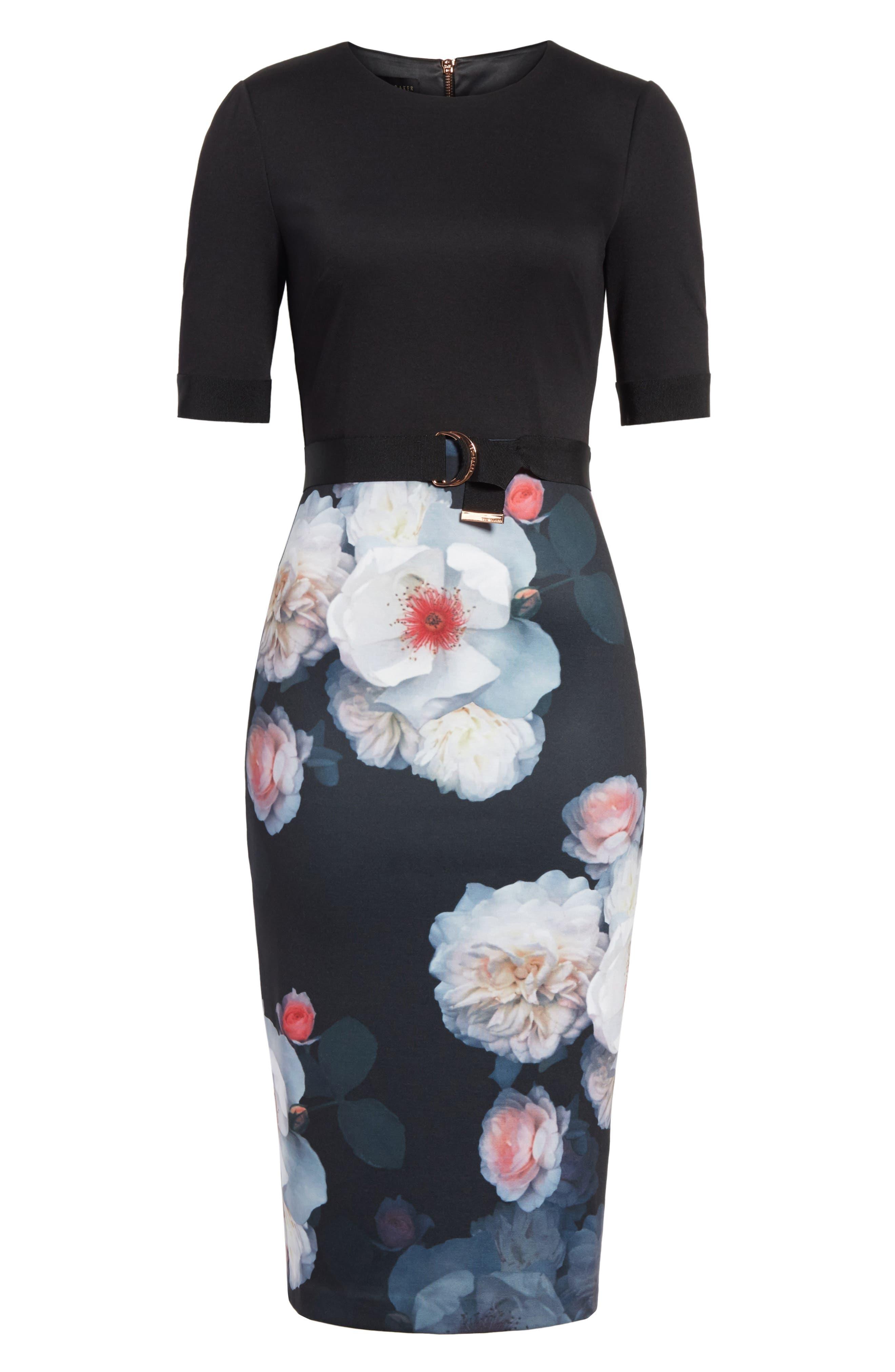 Maason Chelseas Floral Body-Con Dress,                             Alternate thumbnail 6, color,                             001
