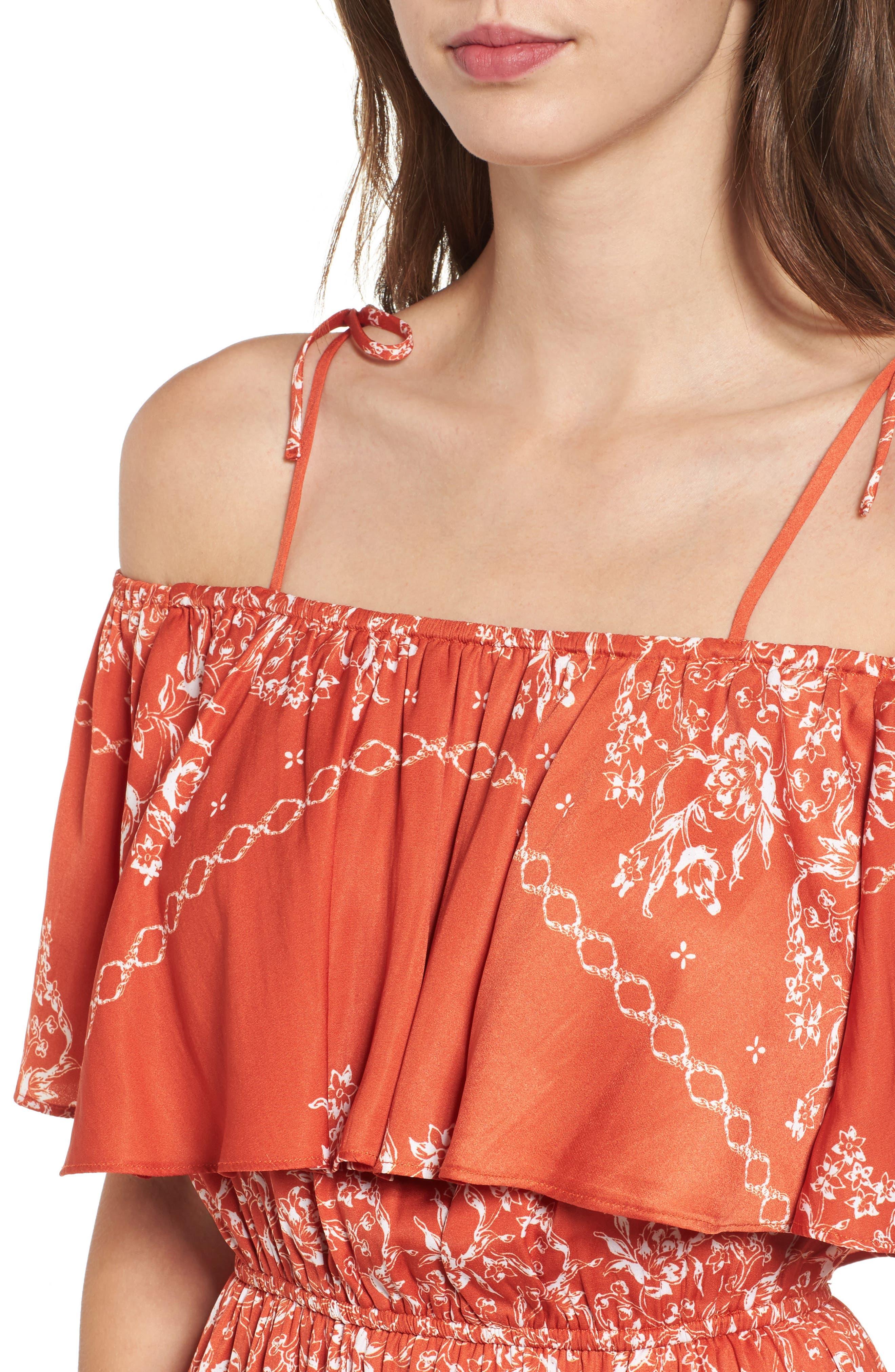 Jacqui Floral Print Cold Shoulder Dress,                             Alternate thumbnail 4, color,                             600