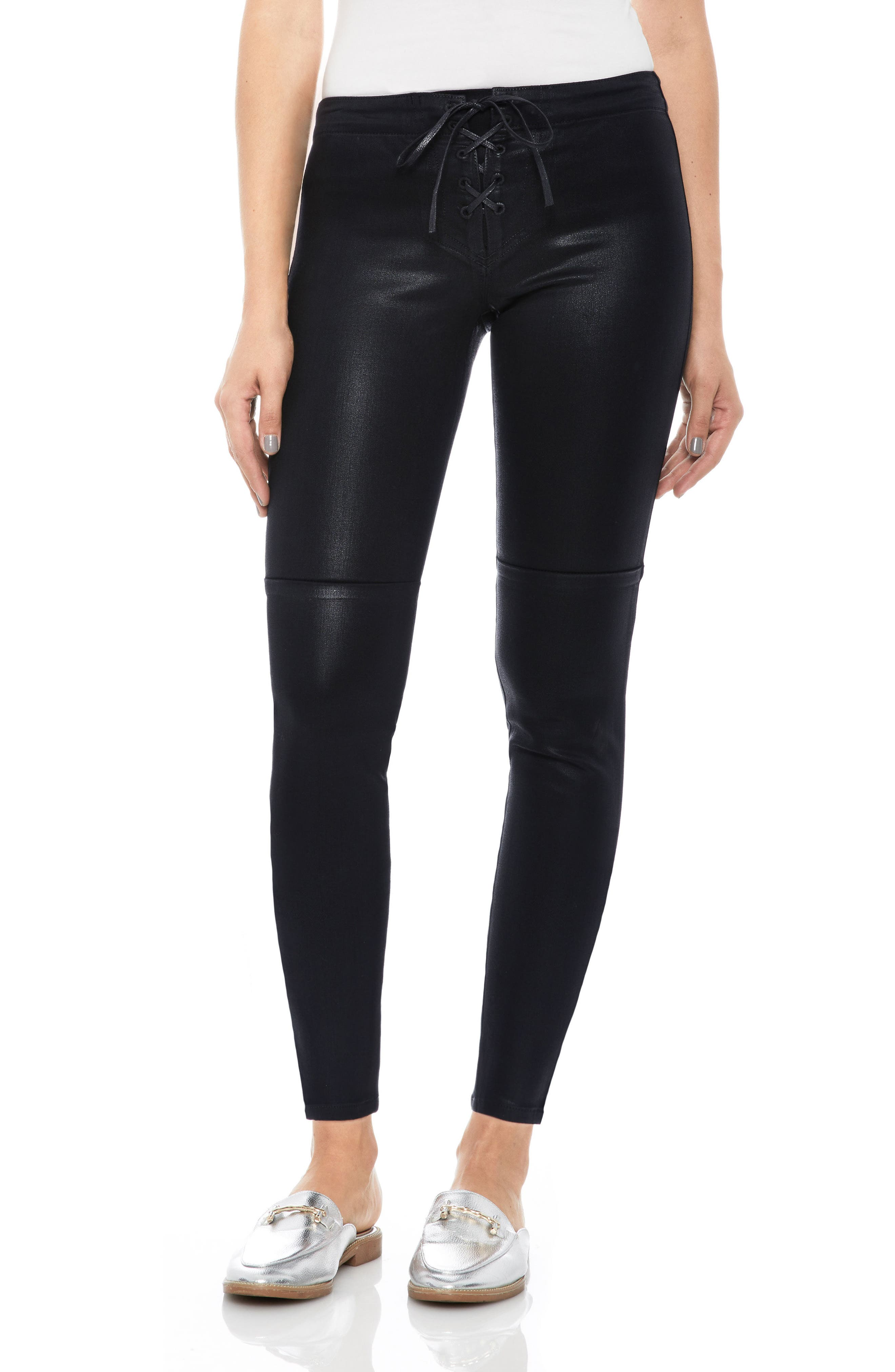 Taylor Hill x Joe's Icon Coated Ankle Skinny Pants, Main, color, 011