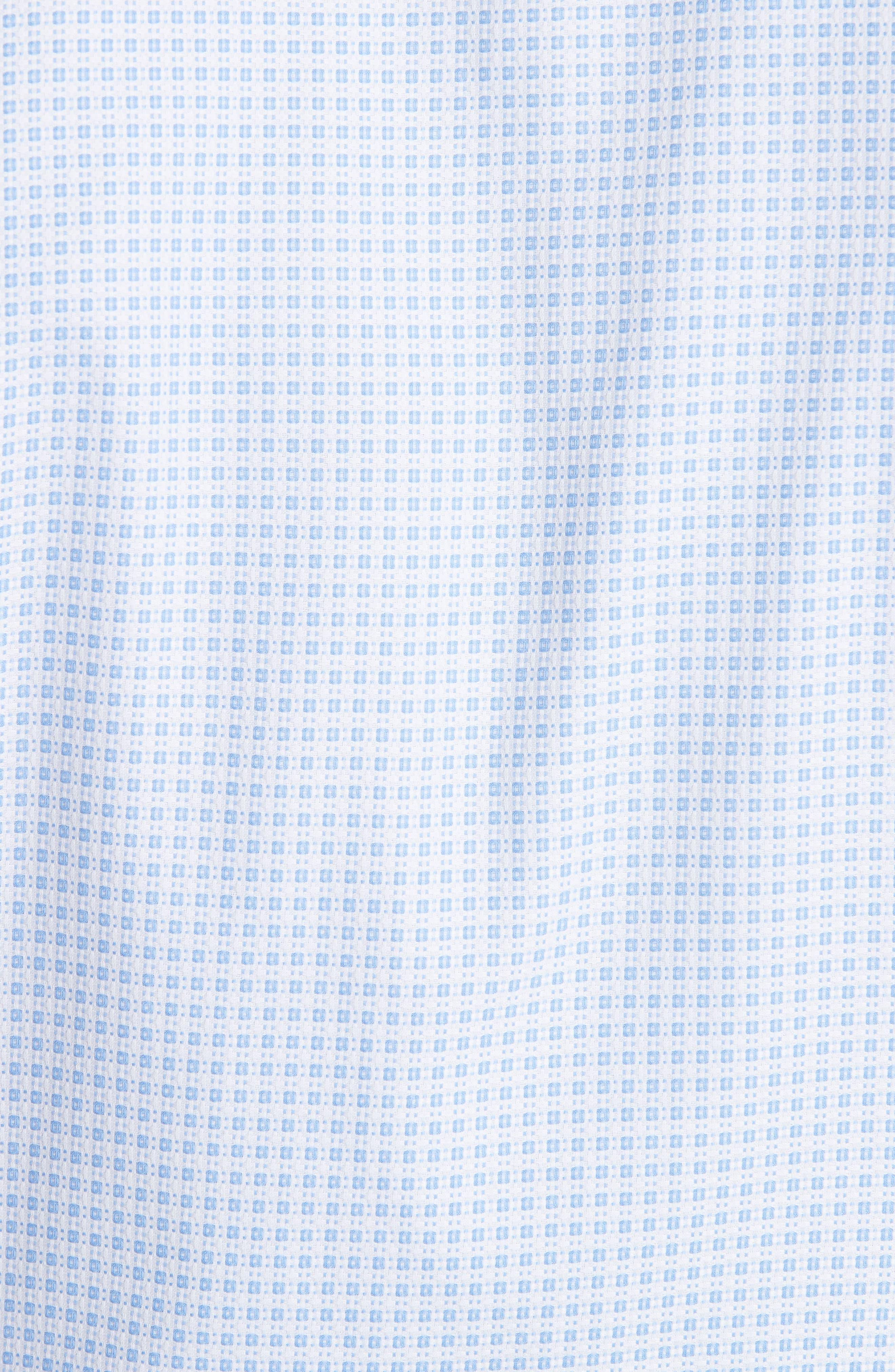 Trim Fit Check Dress Shirt,                             Alternate thumbnail 5, color,                             BRIGHT BLUE
