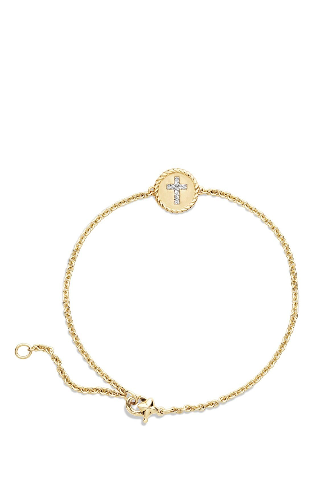 'Cable Collectibles' Cable Pavé Charm Bracelet with Diamonds in Gold,                             Alternate thumbnail 2, color,                             710