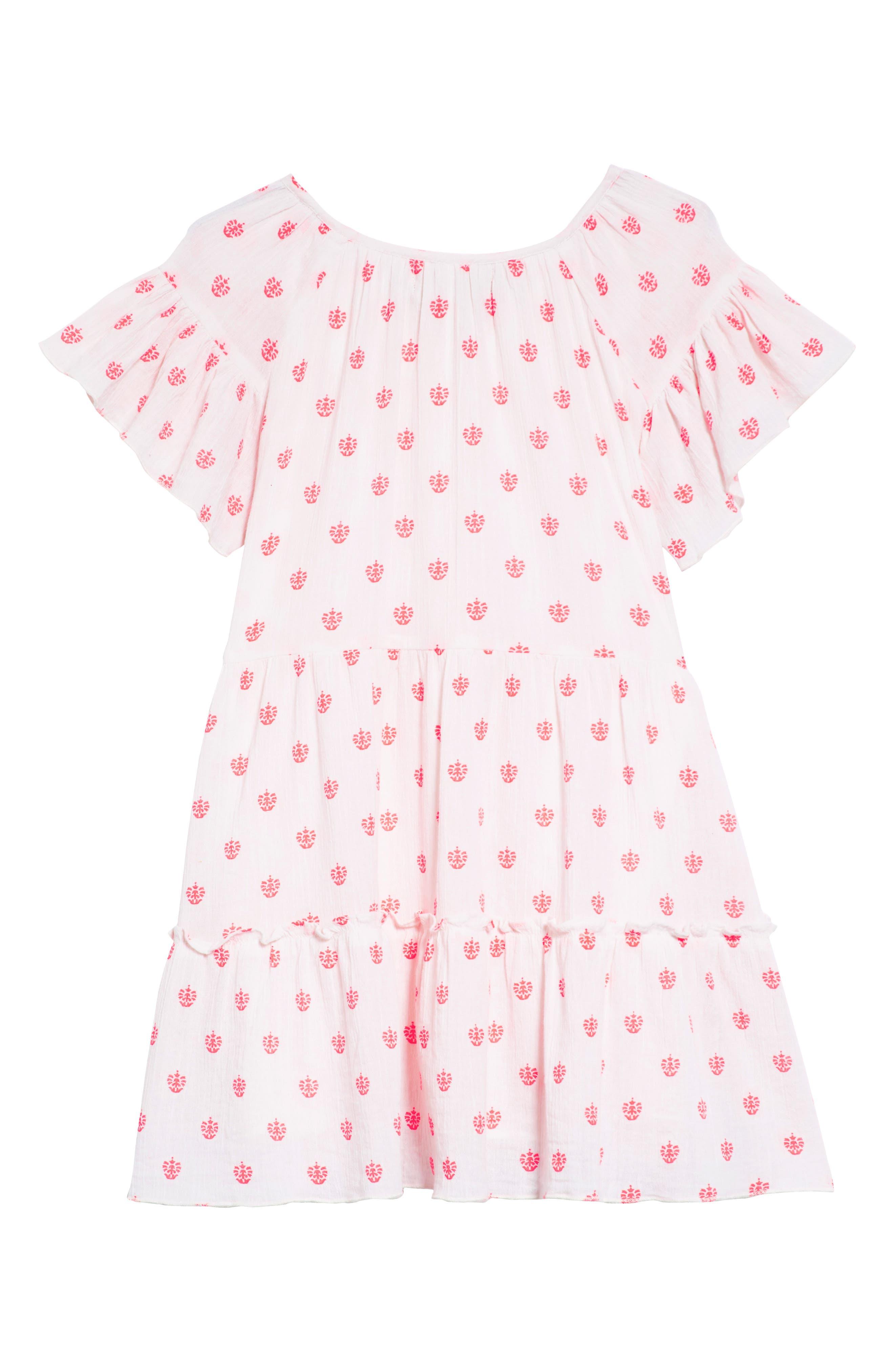 Abby Ruffle Cotton Dress,                             Alternate thumbnail 2, color,                             100