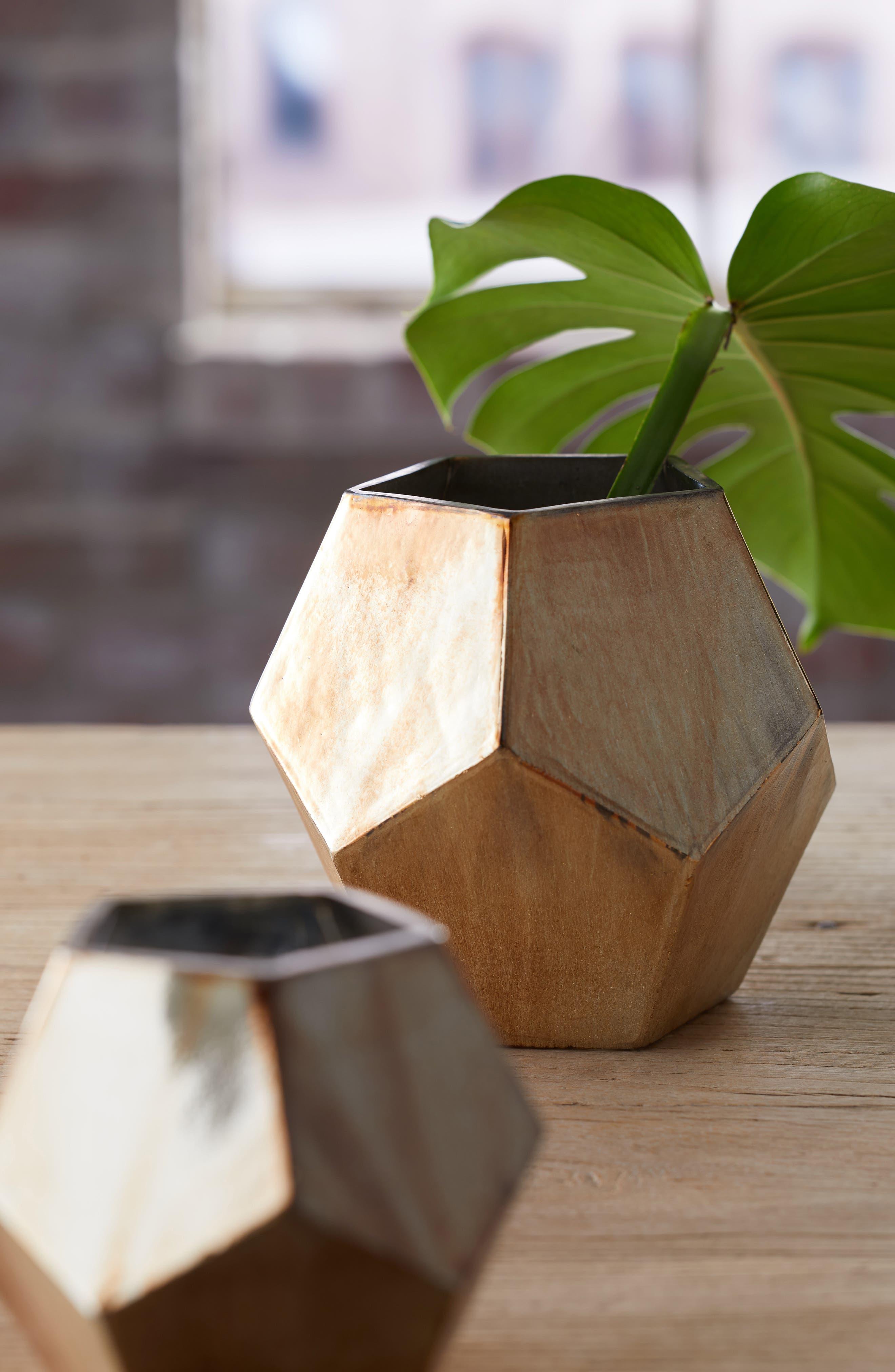 TREASURE & BOND,                             Small Geo Metallic Glass Vase,                             Alternate thumbnail 2, color,                             GOLD