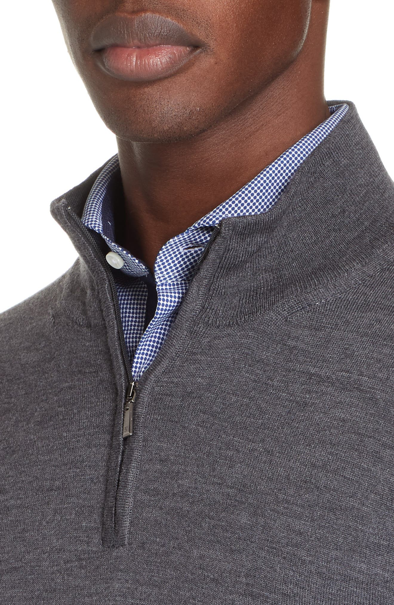 Wool Quarter Zip Pullover,                             Alternate thumbnail 4, color,                             CHARCOAL