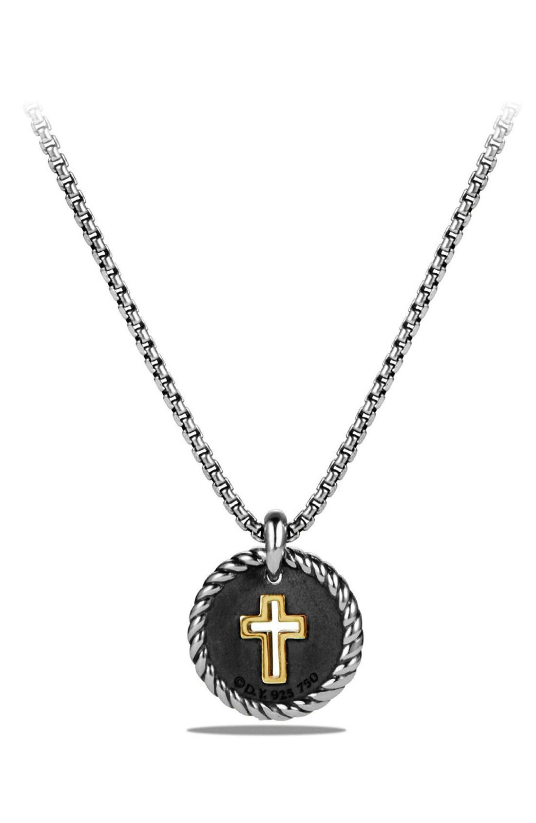 'Cable Collectibles' Cross Charm Necklace with Diamonds & 18K Gold,                             Alternate thumbnail 3, color,                             SILVER