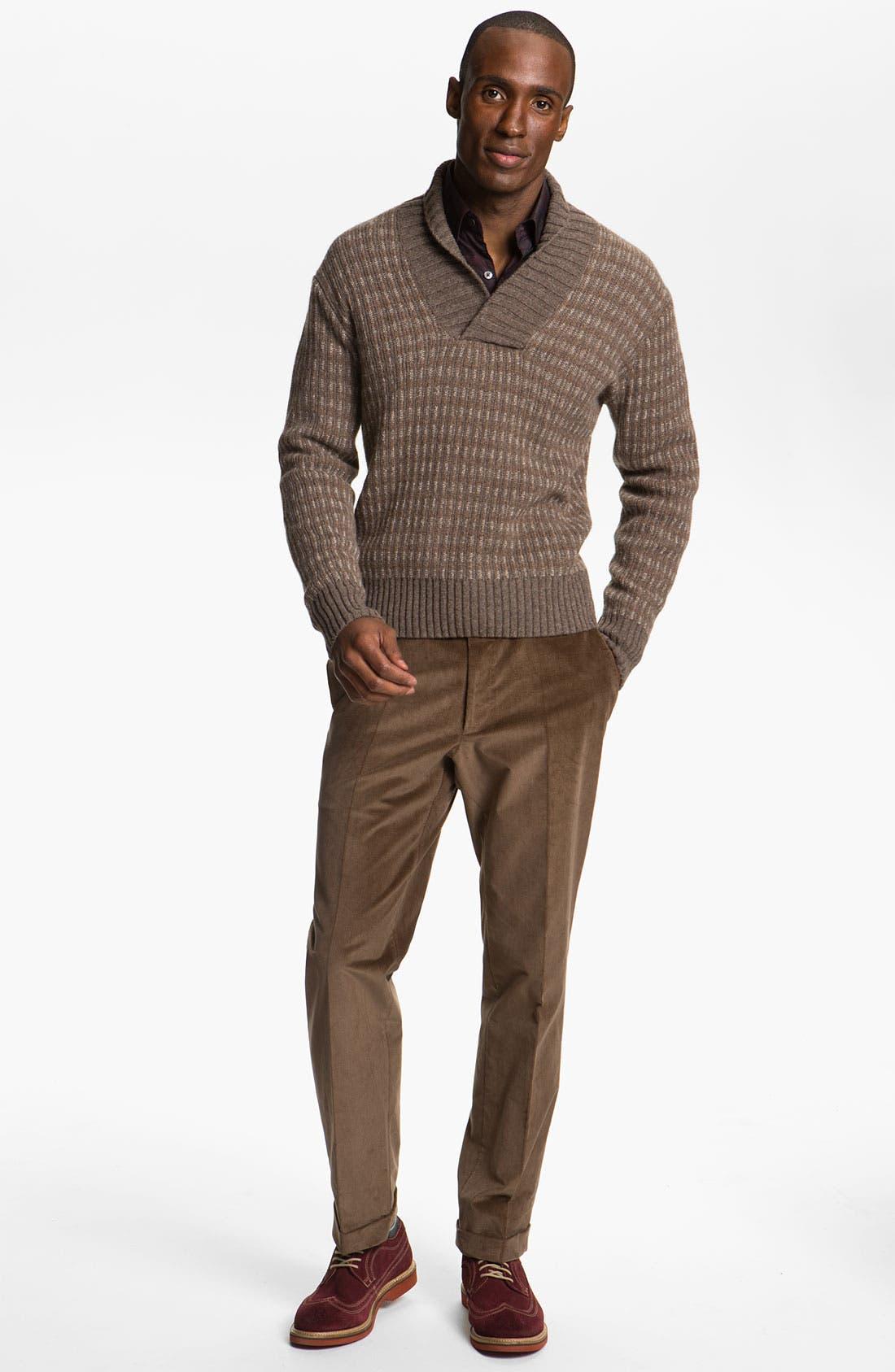 Alpaca & Merino Shawl Collar Sweater,                             Alternate thumbnail 4, color,                             200