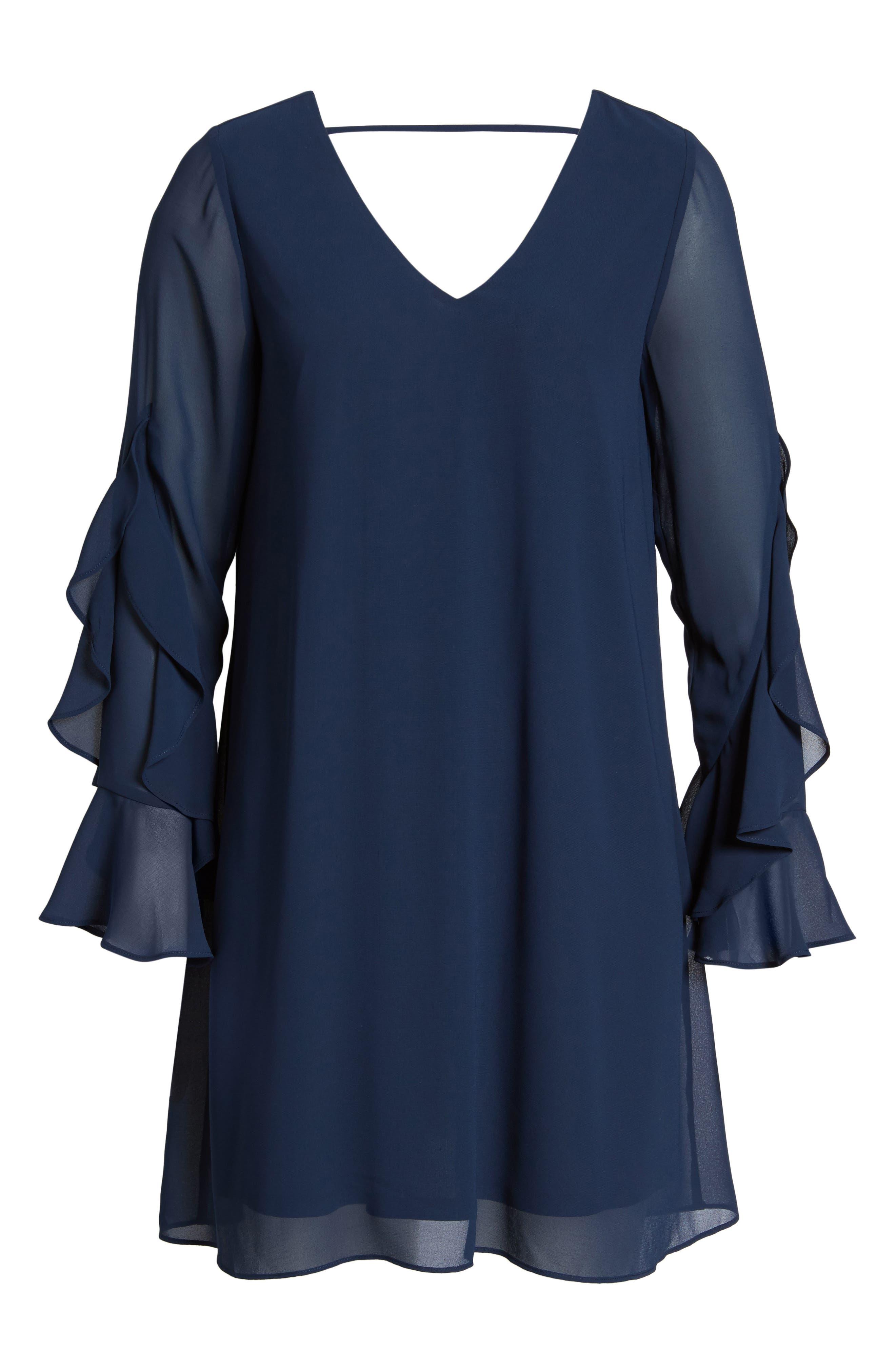 Ruffle Sleeve Shift Dress,                             Alternate thumbnail 22, color,