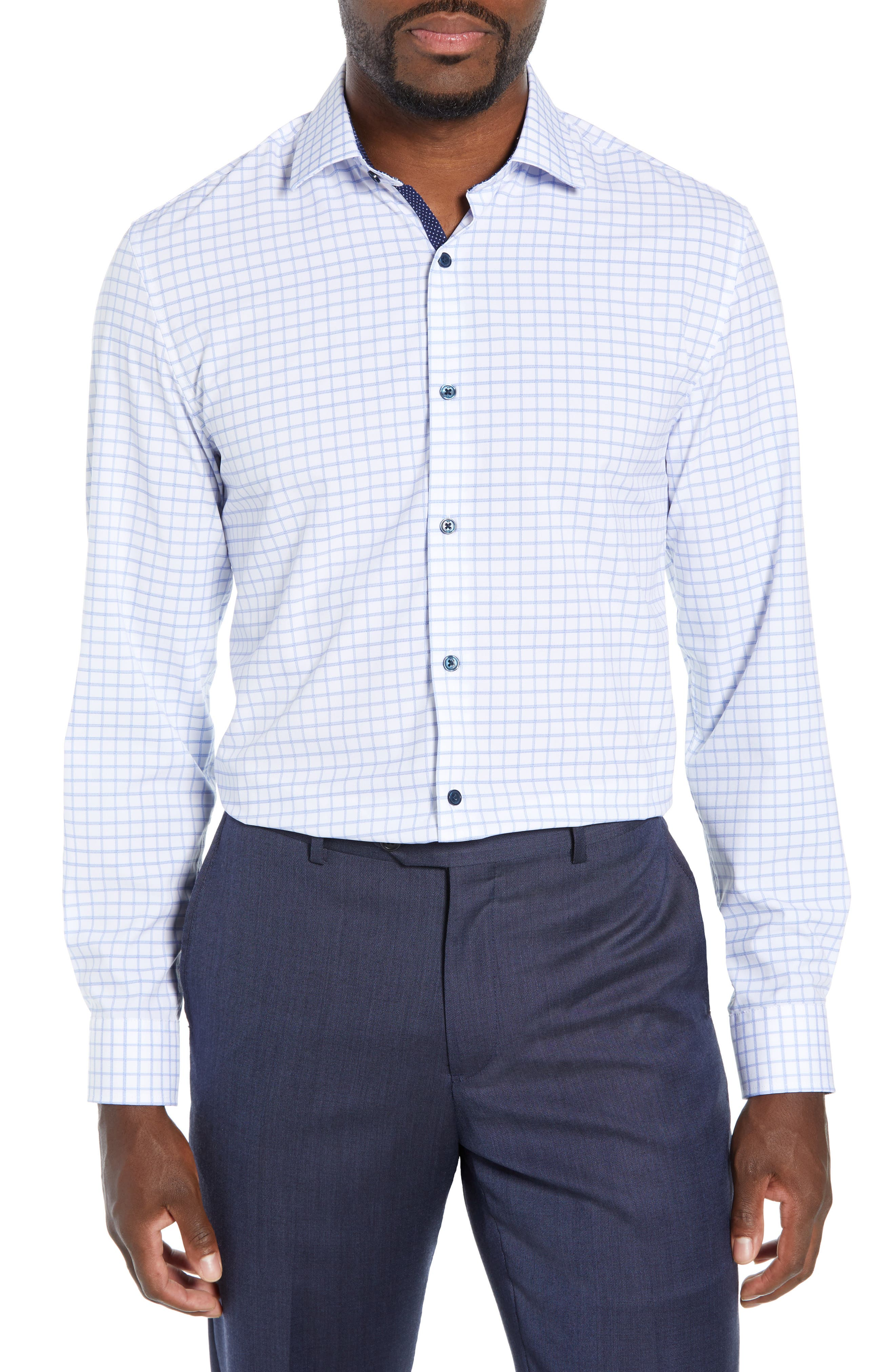 Trim Fit 4-Way Stretch Check Dress Shirt,                             Main thumbnail 1, color,                             WHITE