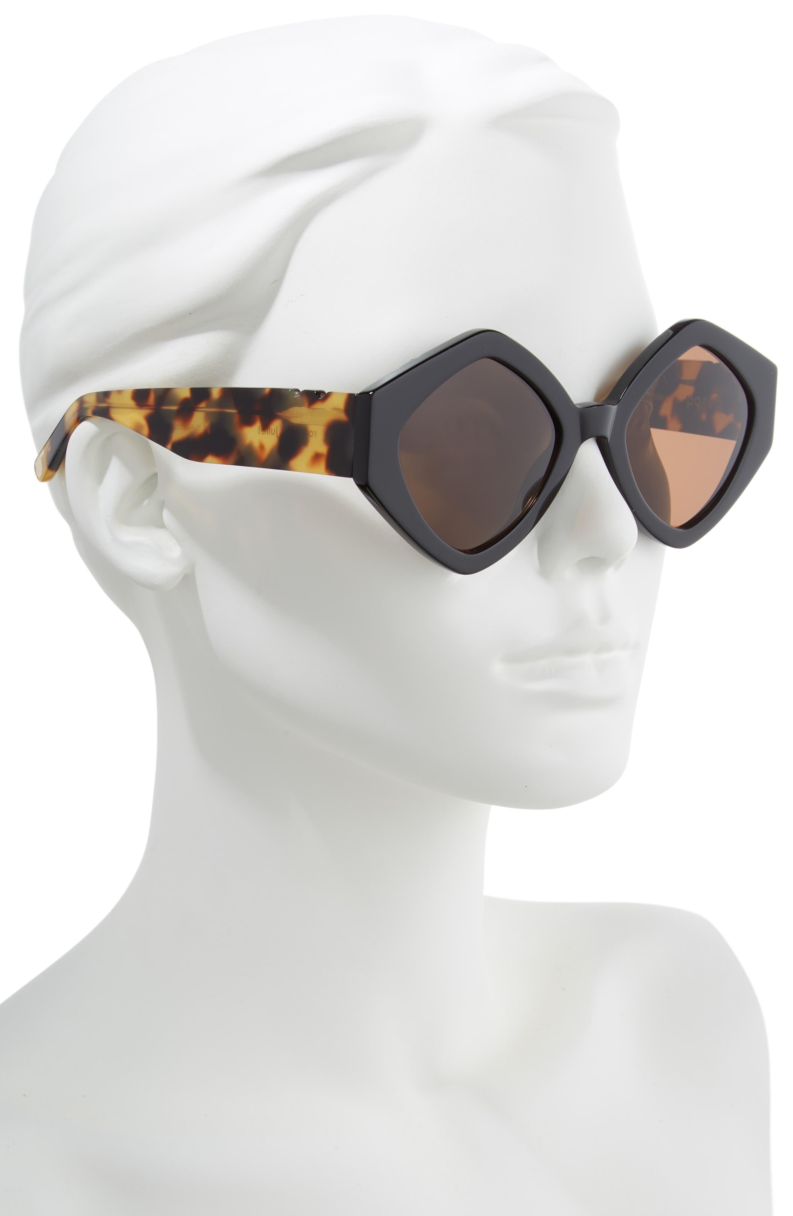 Romeo & Juliet 52mm Sunglasses,                             Alternate thumbnail 2, color,                             BLACK SOLID BROWN LENSES