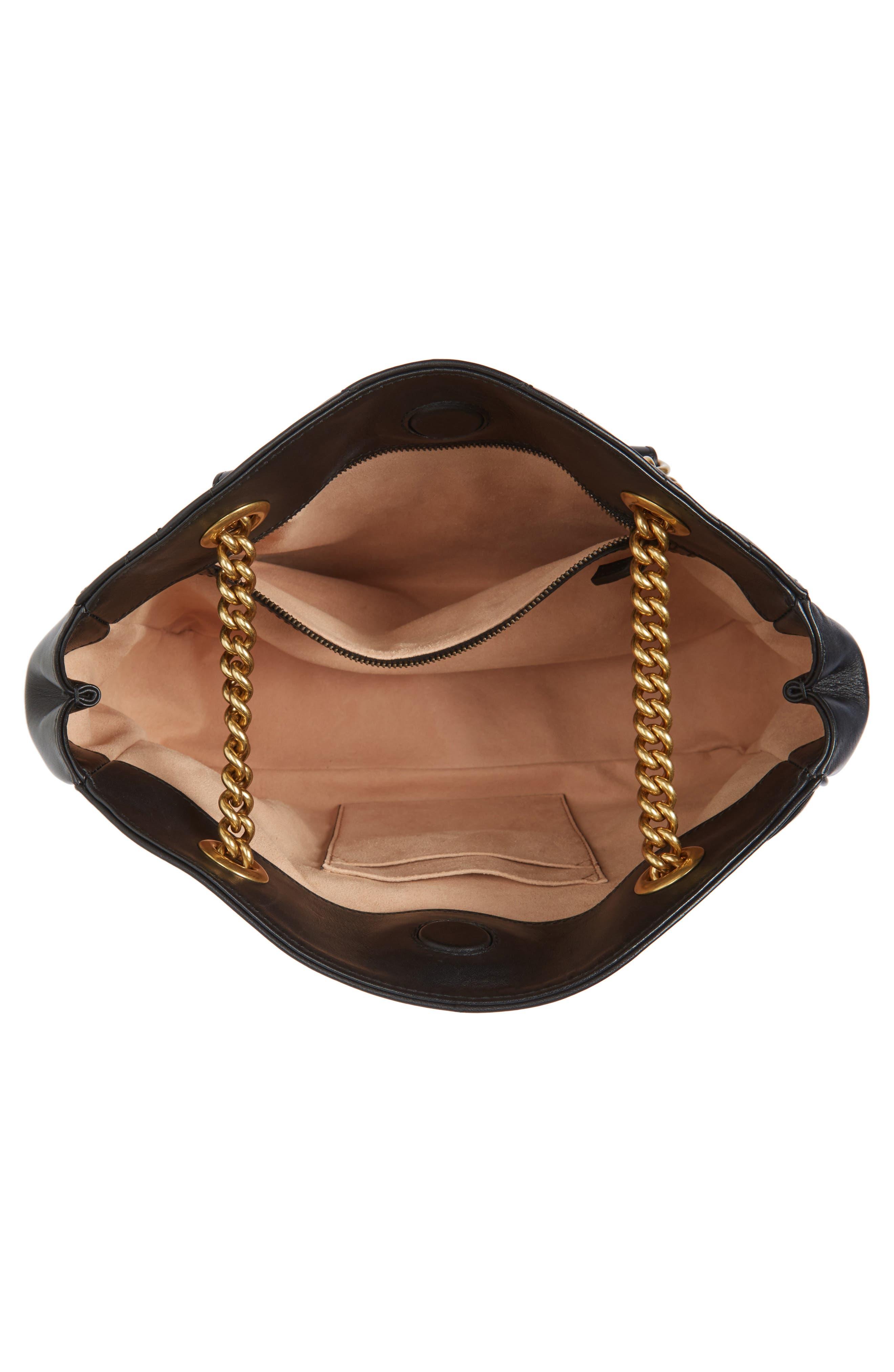 GG Marmont Matelassé Leather Shoulder Bag,                             Alternate thumbnail 4, color,                             001