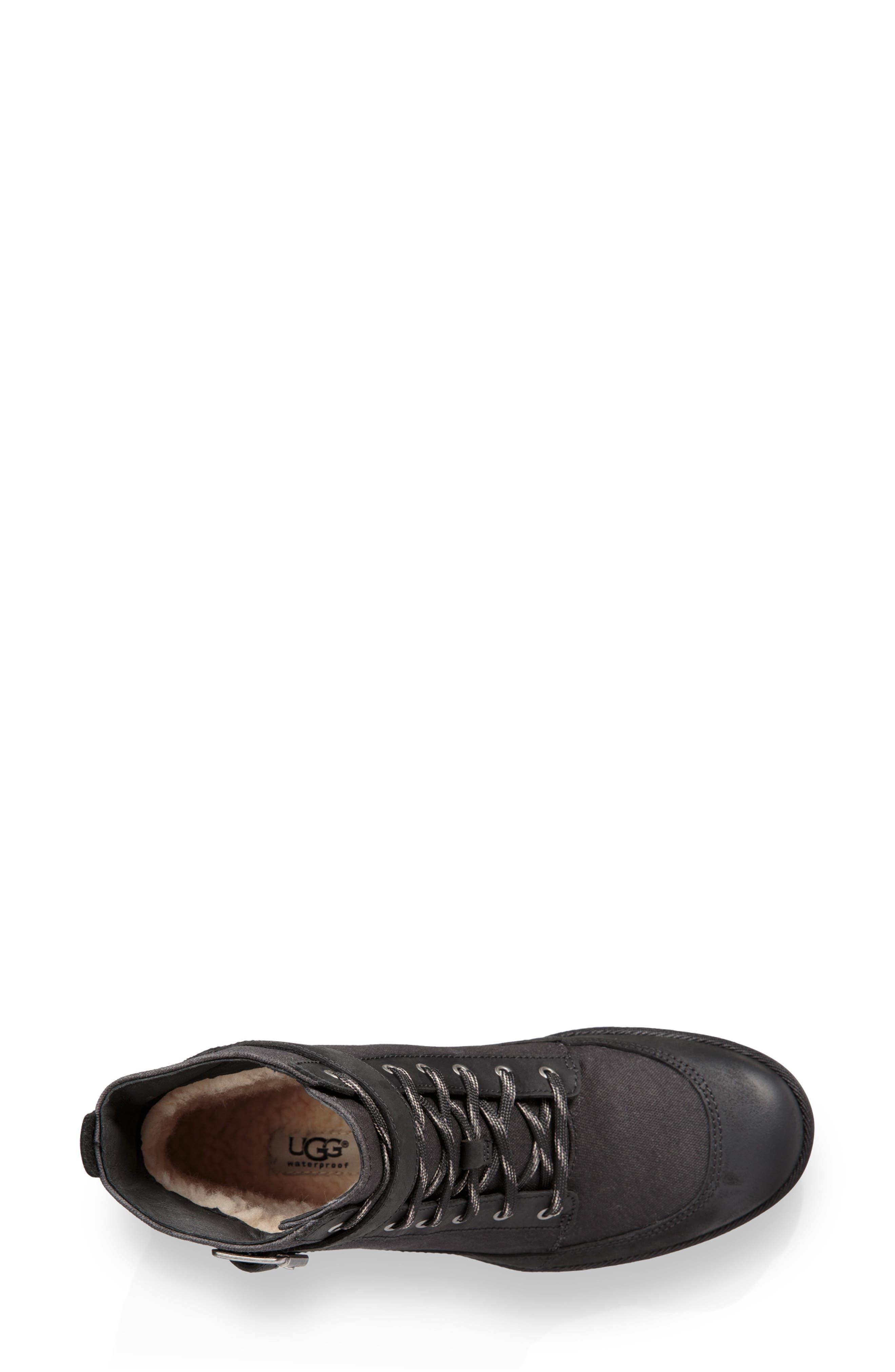 Tulane Waterproof Boot,                             Alternate thumbnail 4, color,                             BLACK LEATHER