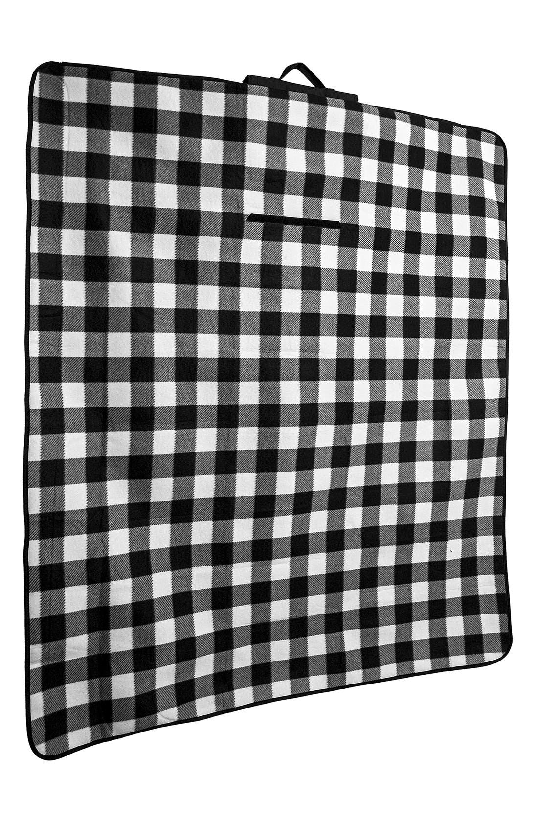Monogram Plaid Fold-Up Picnic Blanket,                             Alternate thumbnail 6, color,                             018