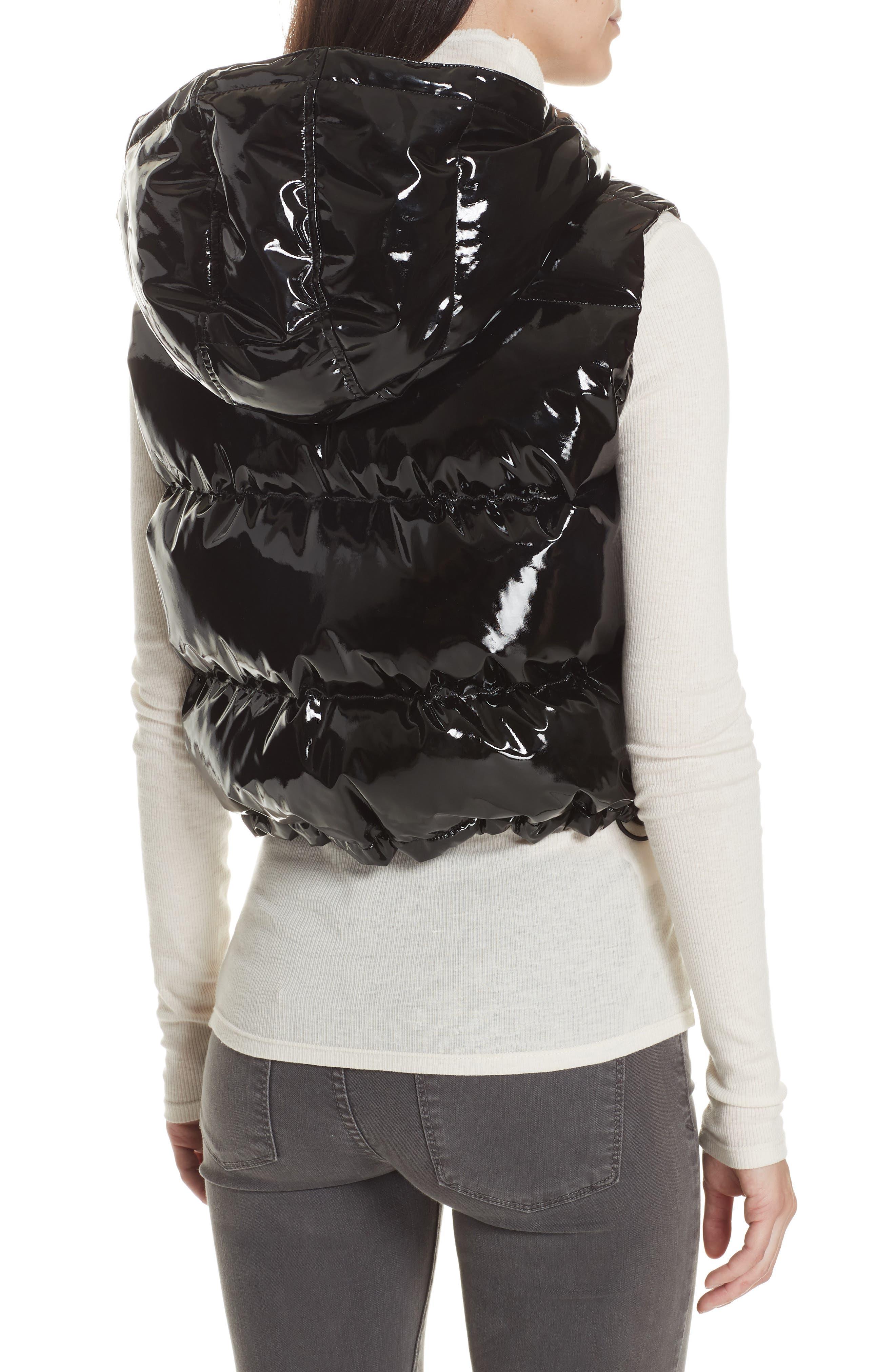 Shrunken Patent Puffer Vest,                             Alternate thumbnail 2, color,                             BLACK