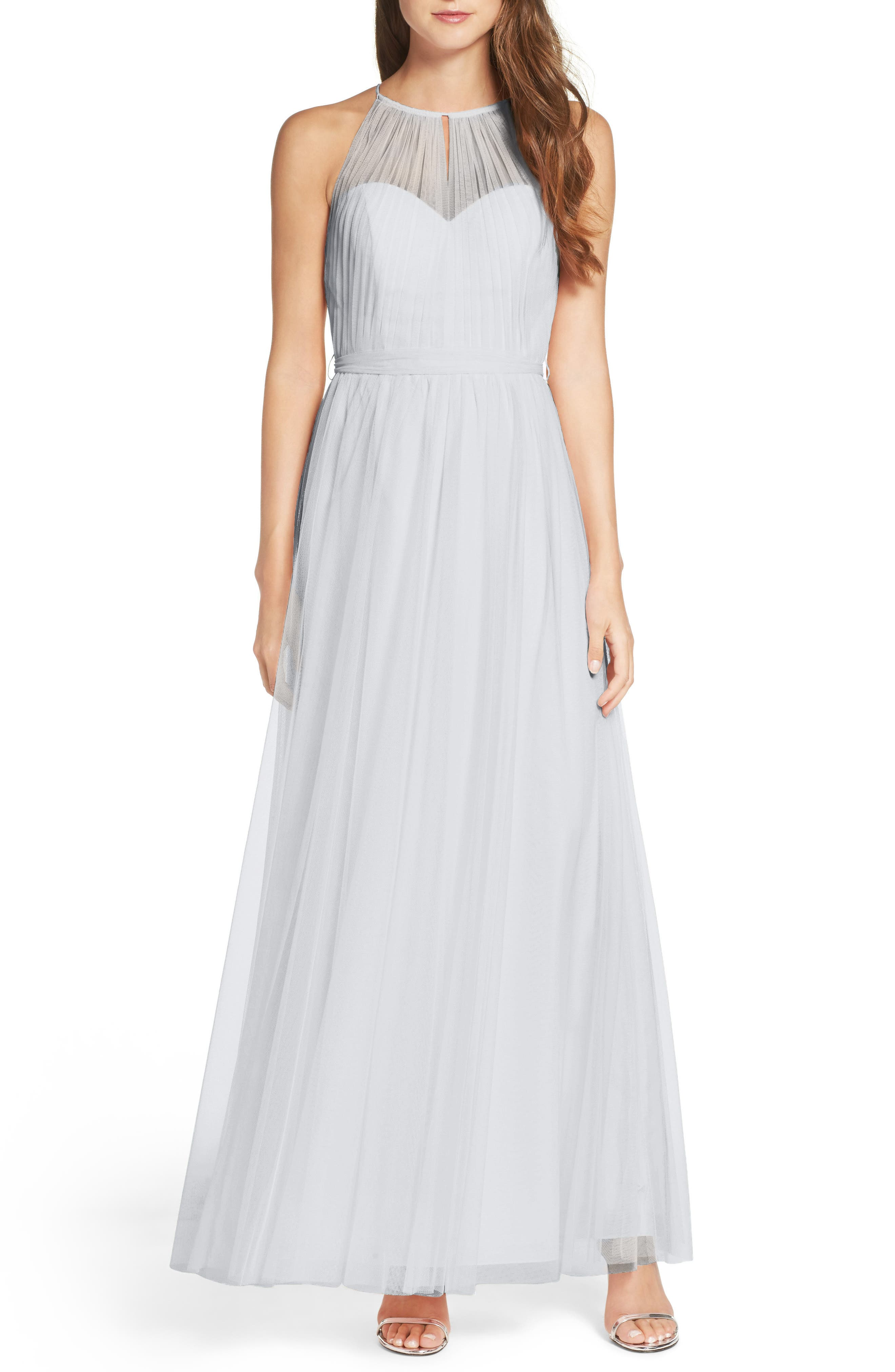 Tulle Halter Neck Gown,                             Main thumbnail 6, color,