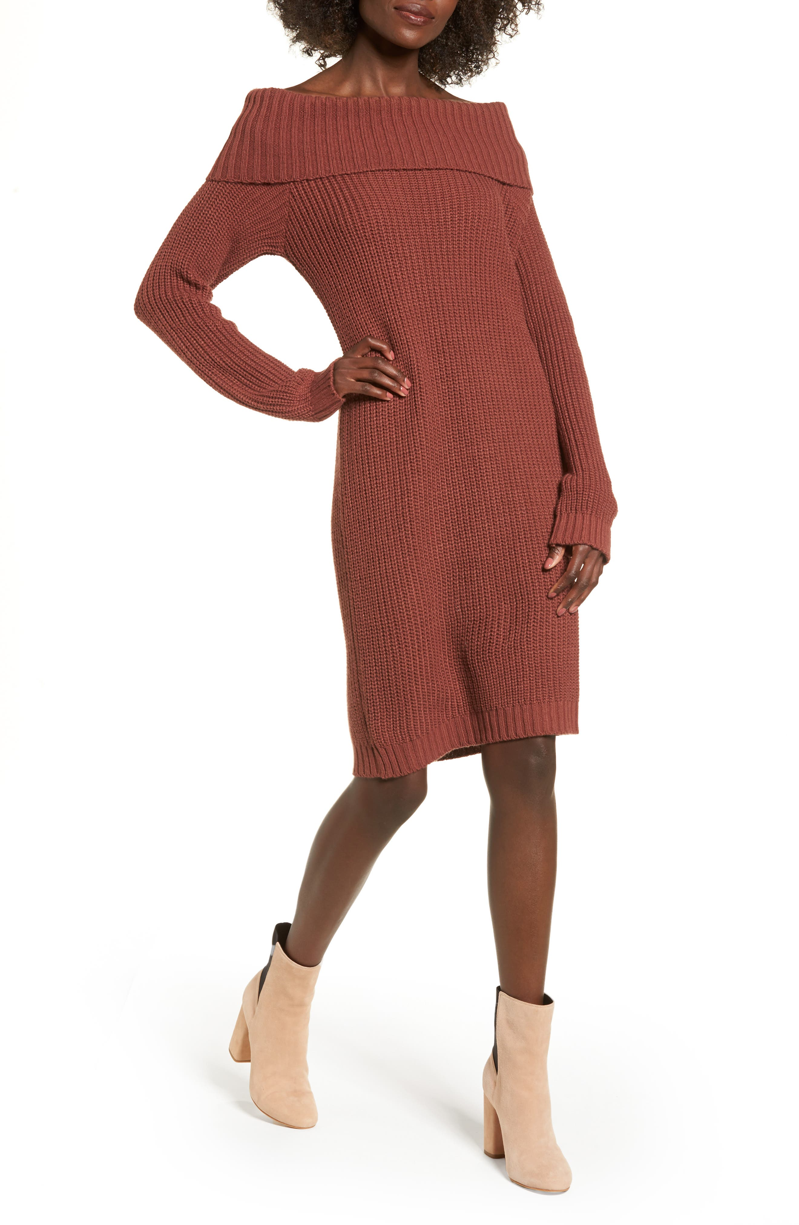 Foldover Off the Shoulder Sweater Dress,                             Main thumbnail 3, color,