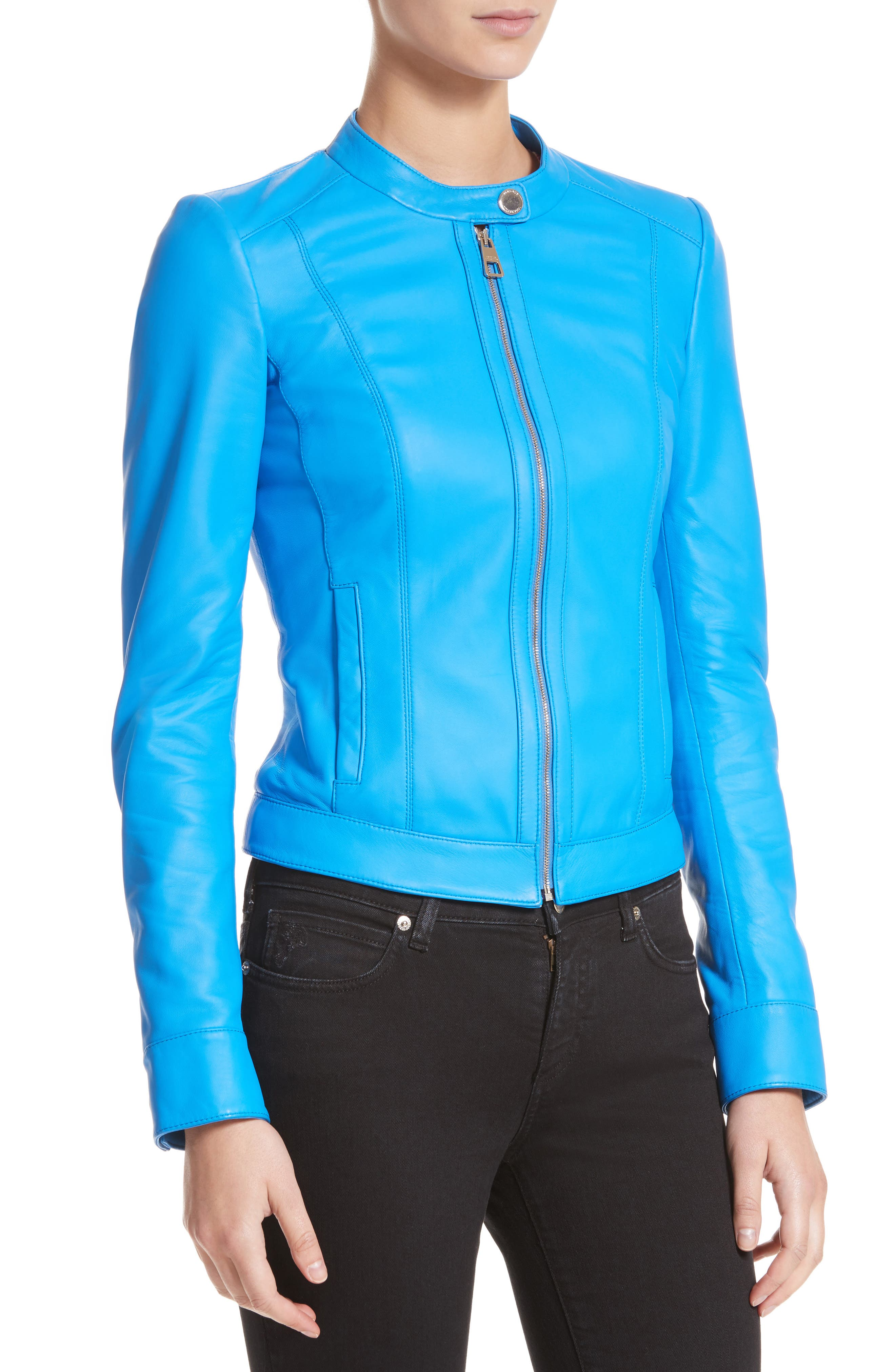 Nappa Leather Jacket,                             Alternate thumbnail 4, color,