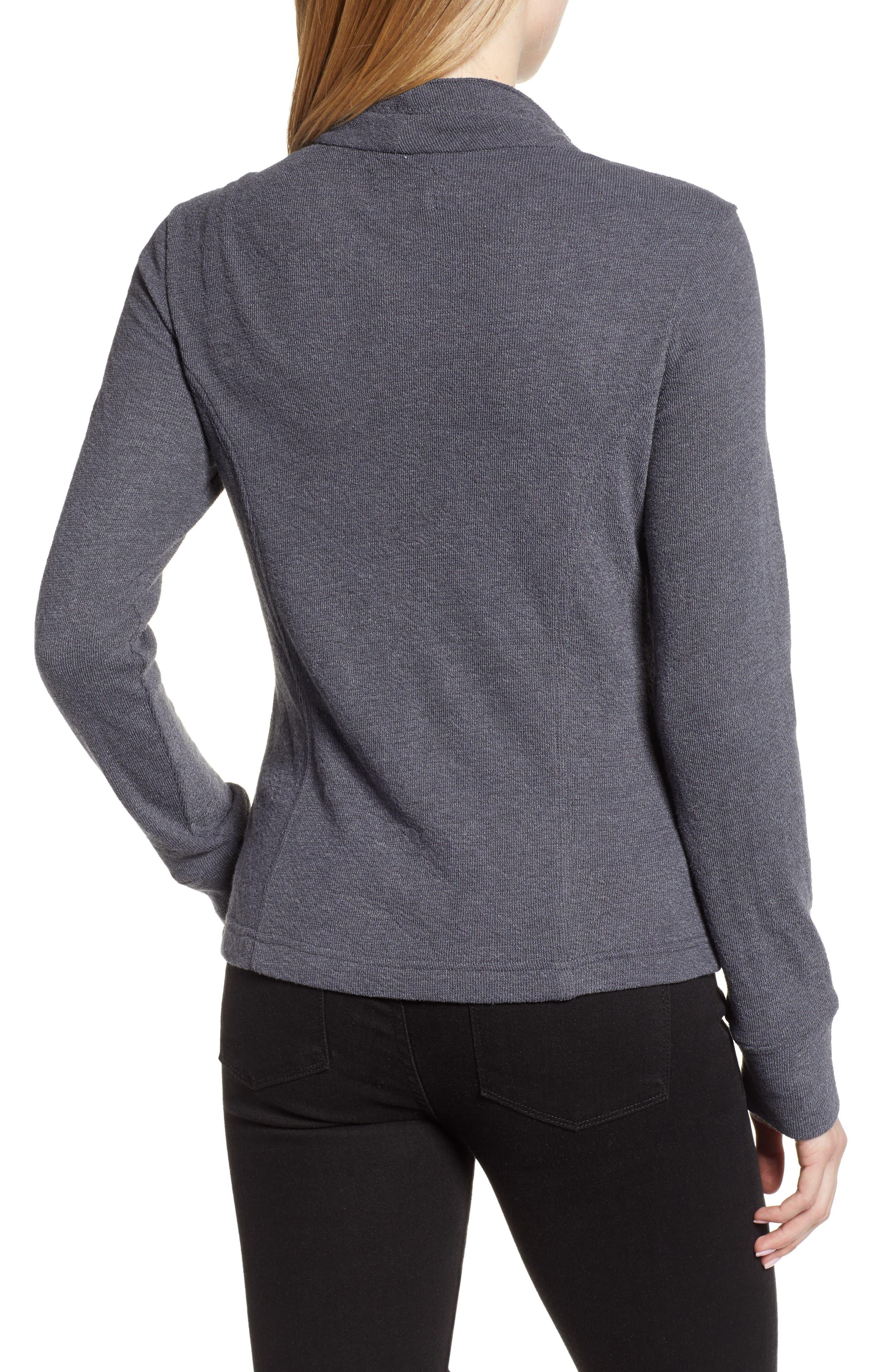 CASLON<SUP>®</SUP>,                             Knit Moto Jacket,                             Alternate thumbnail 2, color,                             GREY EBONY
