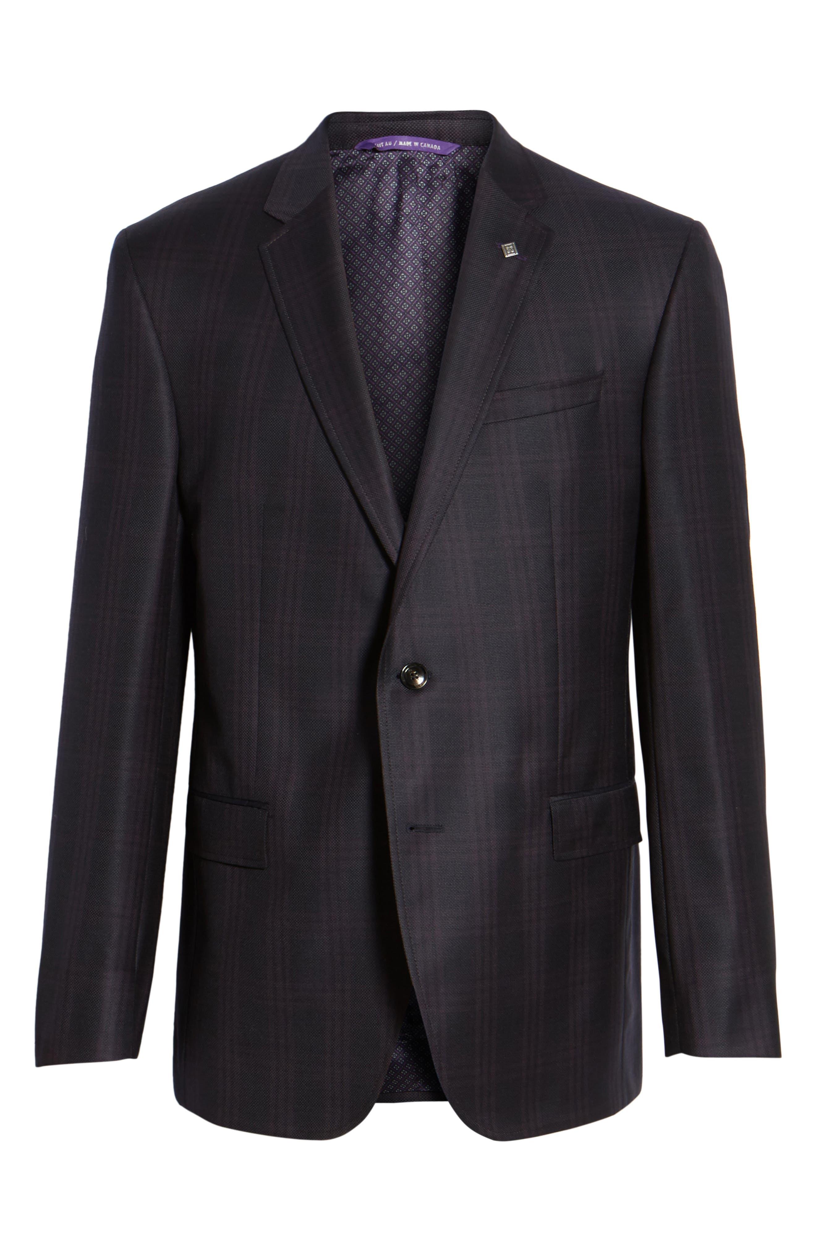 Jed Trim Fit Plaid Wool Sport Coat,                             Alternate thumbnail 5, color,                             001