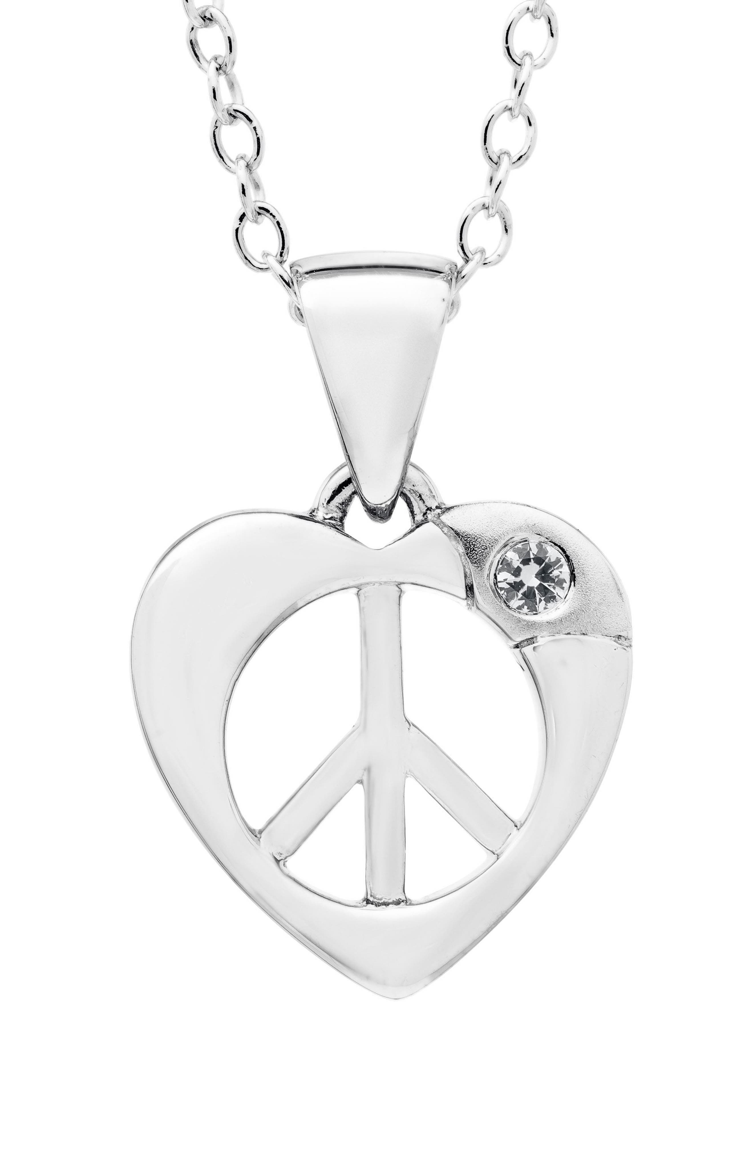 MIGNONETTE Sterling Silver Heart Peace Sign Pendant Necklace, Main, color, 040