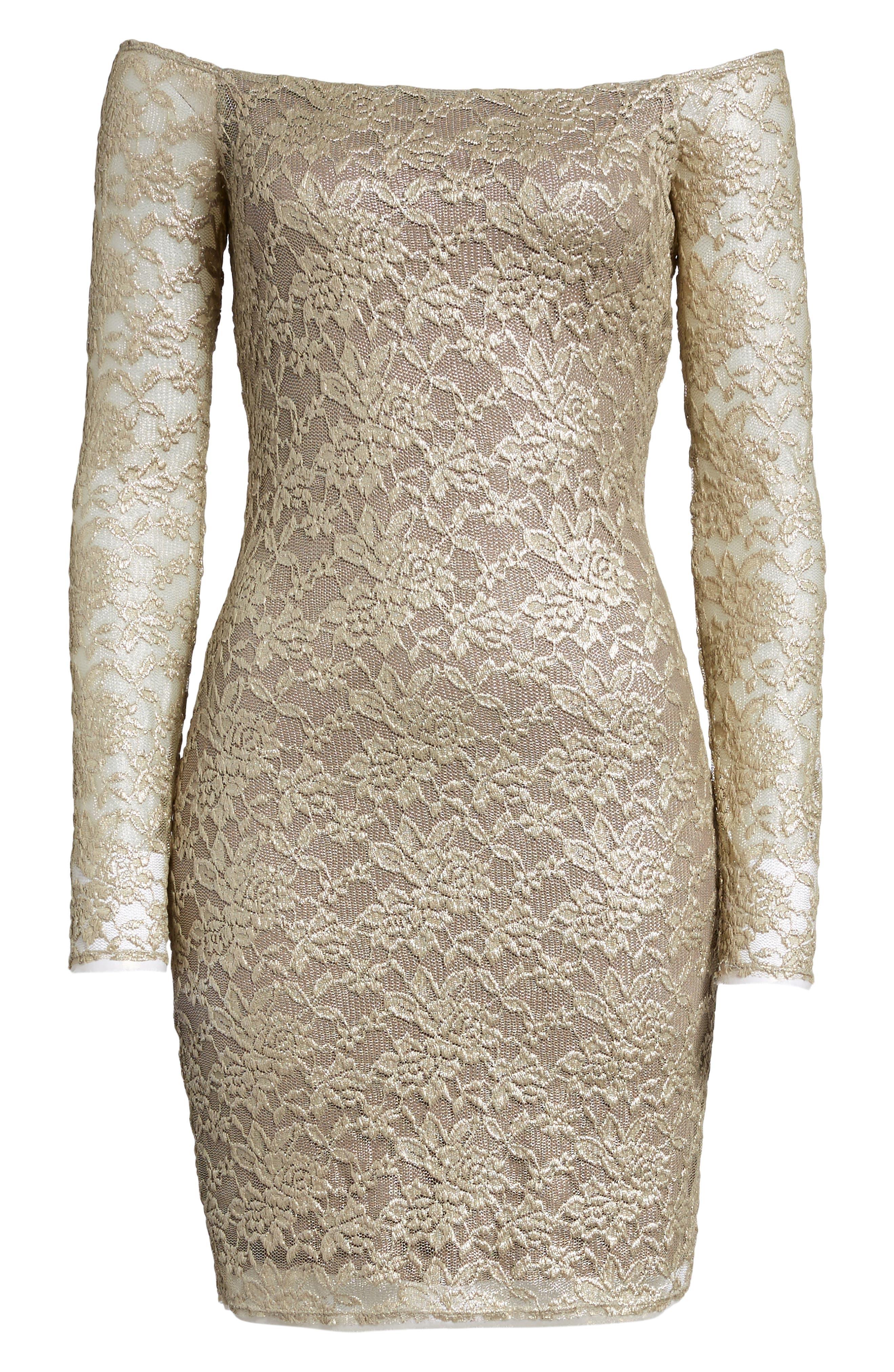 Double Exposure Lace Sheath Dress,                             Alternate thumbnail 6, color,                             710