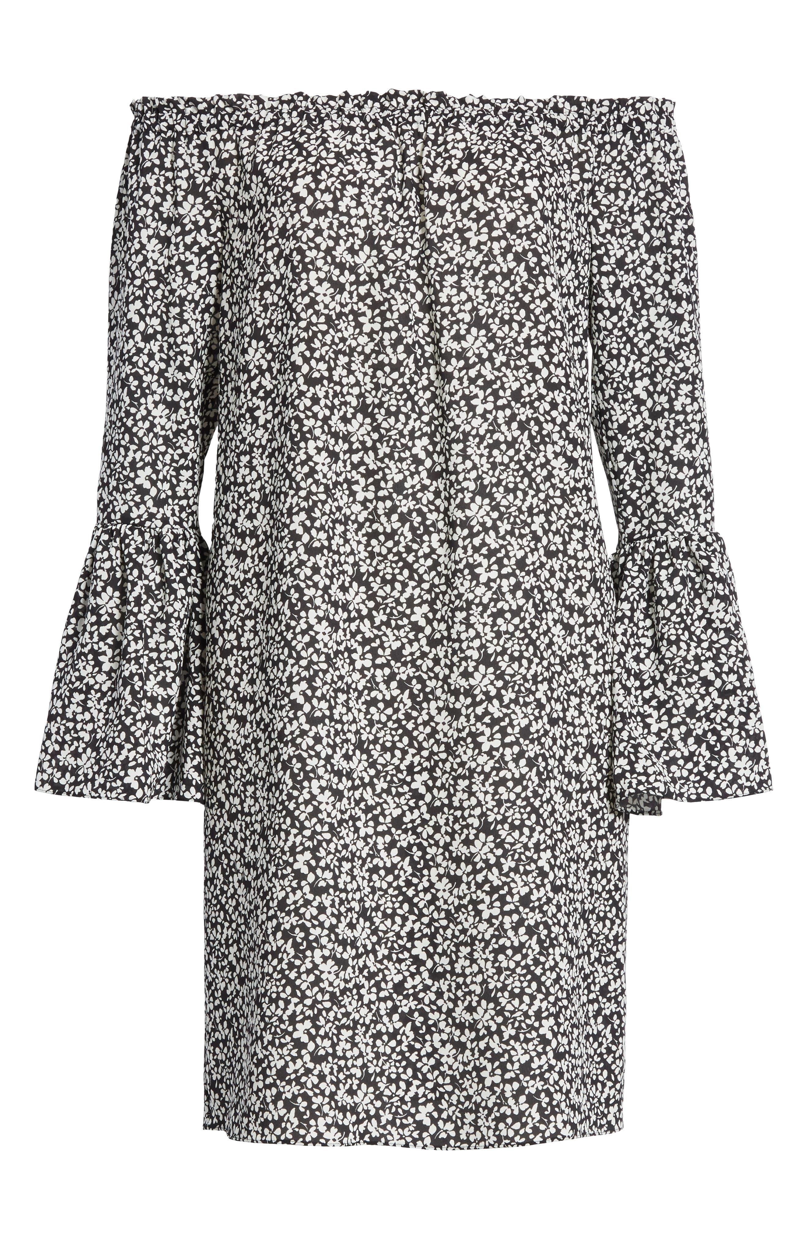 Print Silk Off the Shoulder Dress,                             Alternate thumbnail 6, color,                             003
