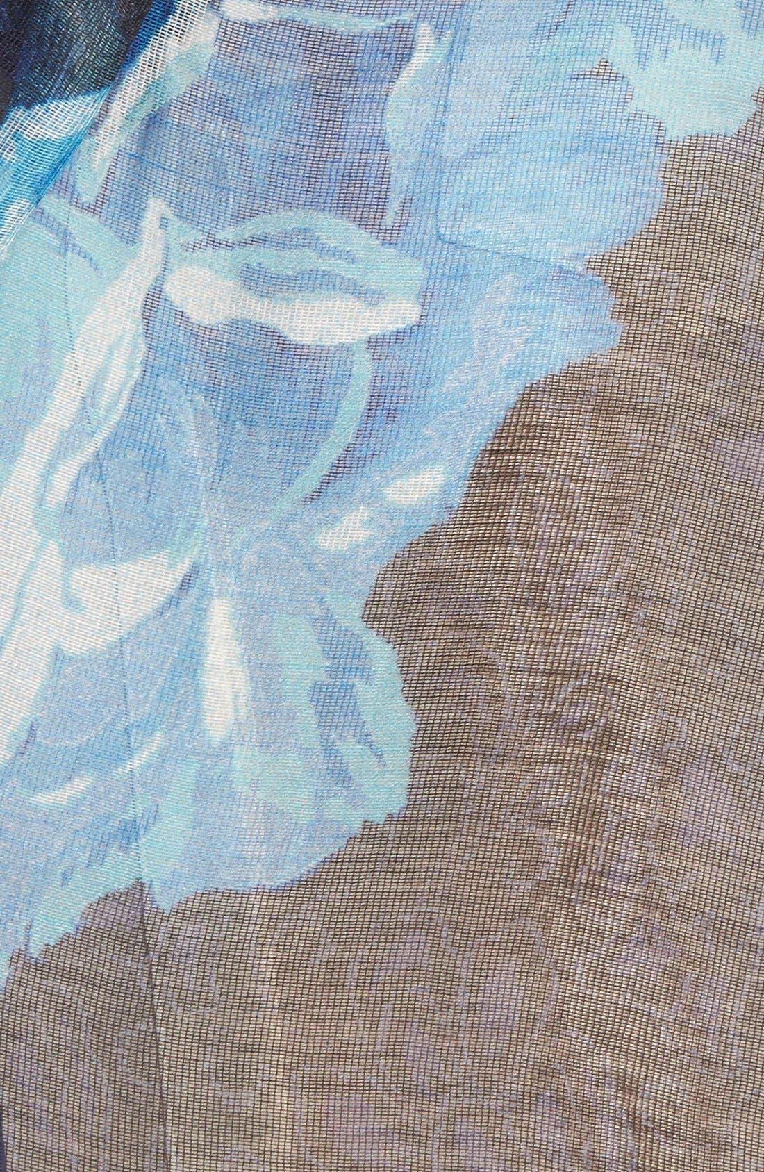 'Sheer Rose' Floral Print Modal & Silk Scarf,                             Alternate thumbnail 6, color,