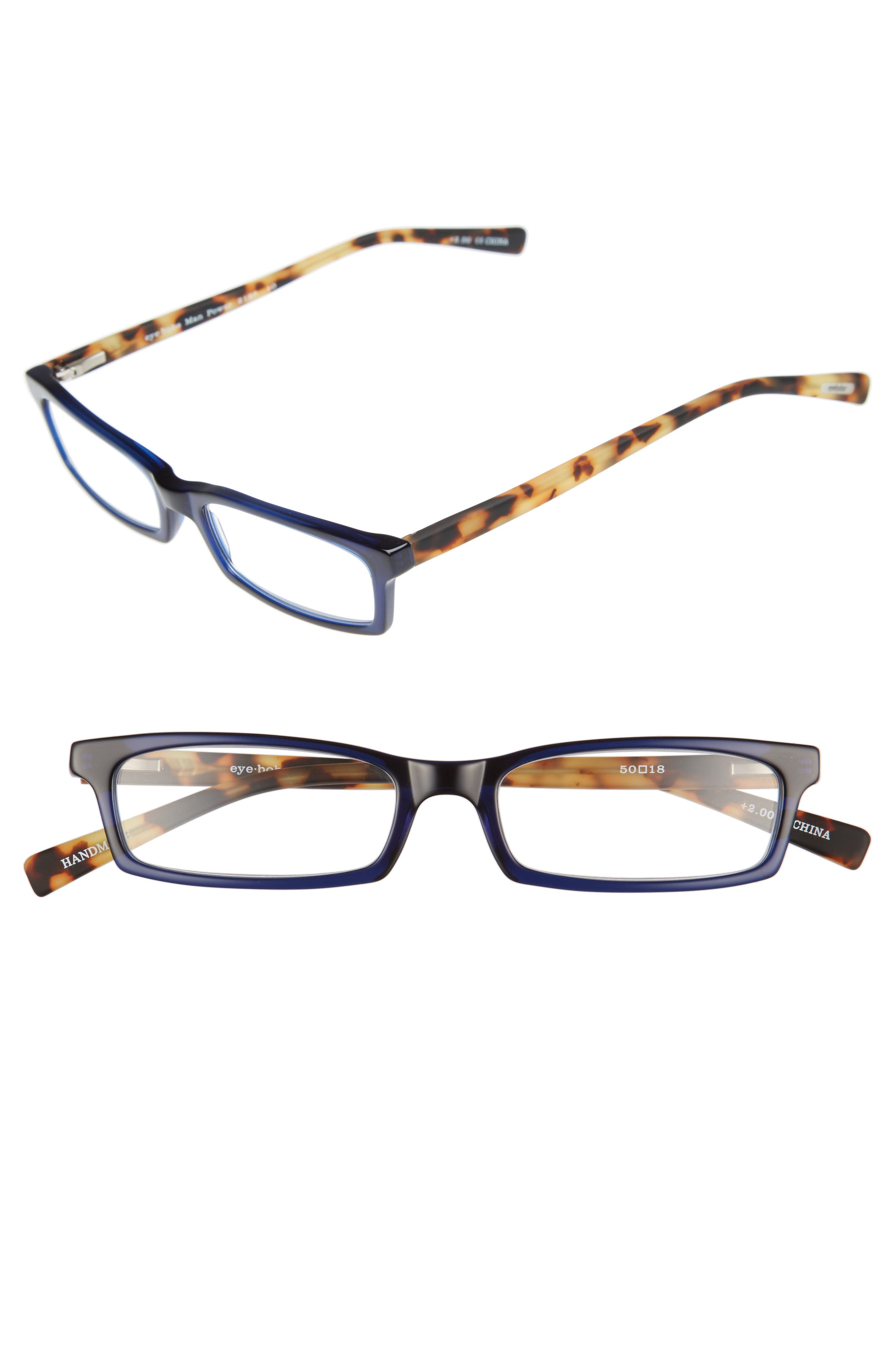 Man Power 50mm Reading Glasses,                             Main thumbnail 1, color,                             NAVY WITH TORTOISE