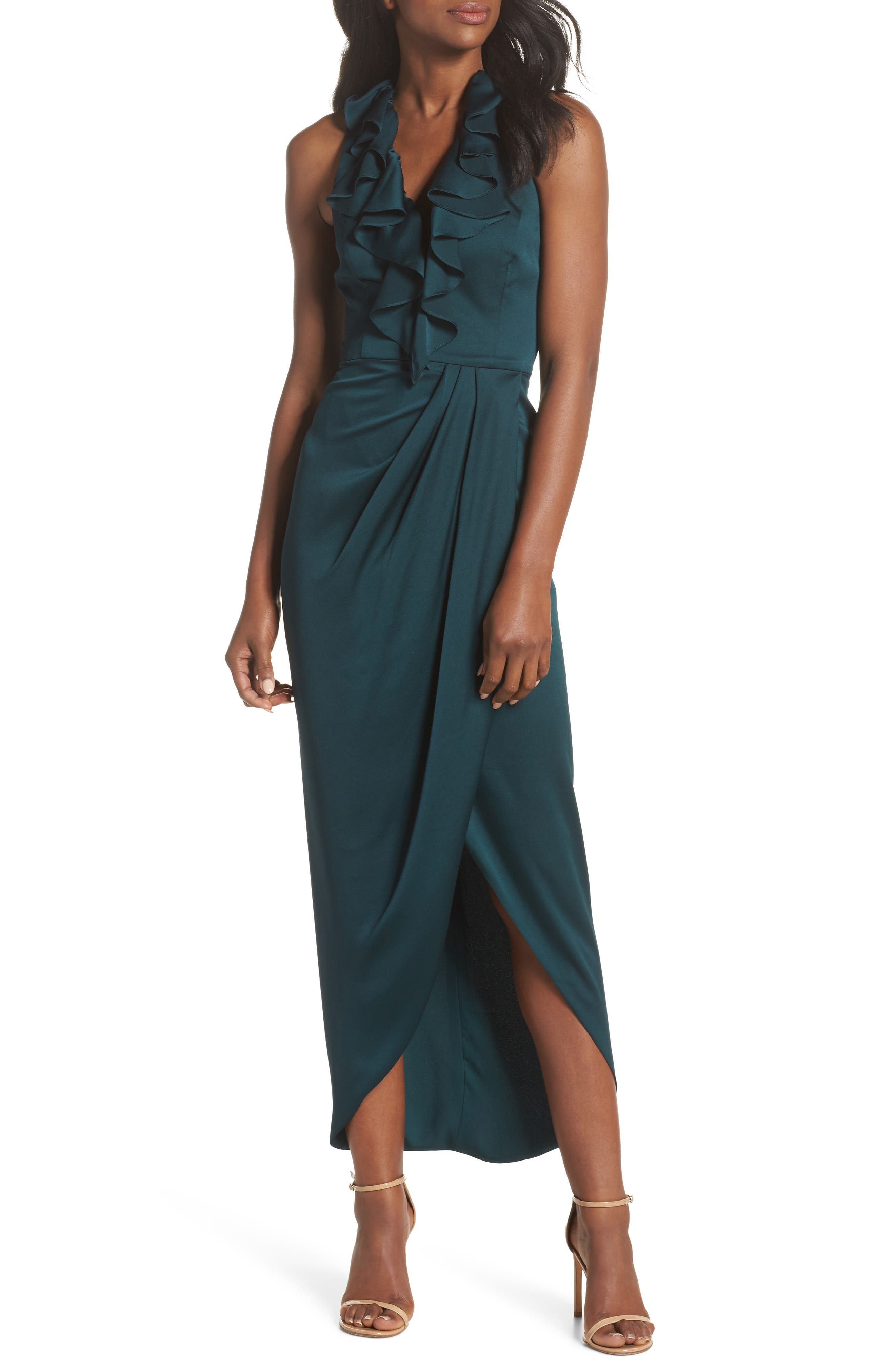Luxe Plunging Frill Maxi Dress,                             Alternate thumbnail 5, color,                             300